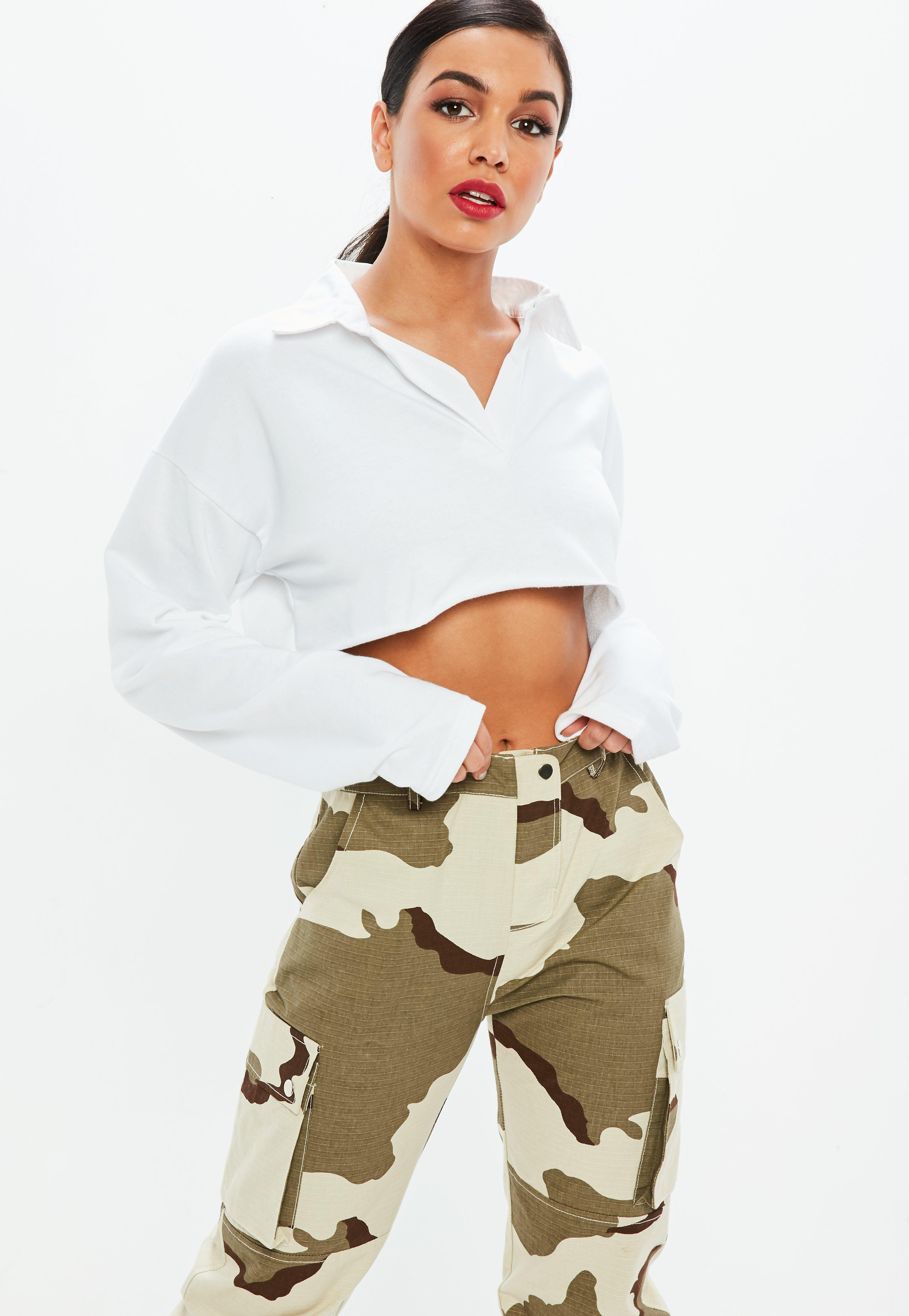 0f76ff3a9157b Lyst - Missguided White Boxy Cropped Rugby Shirt in White
