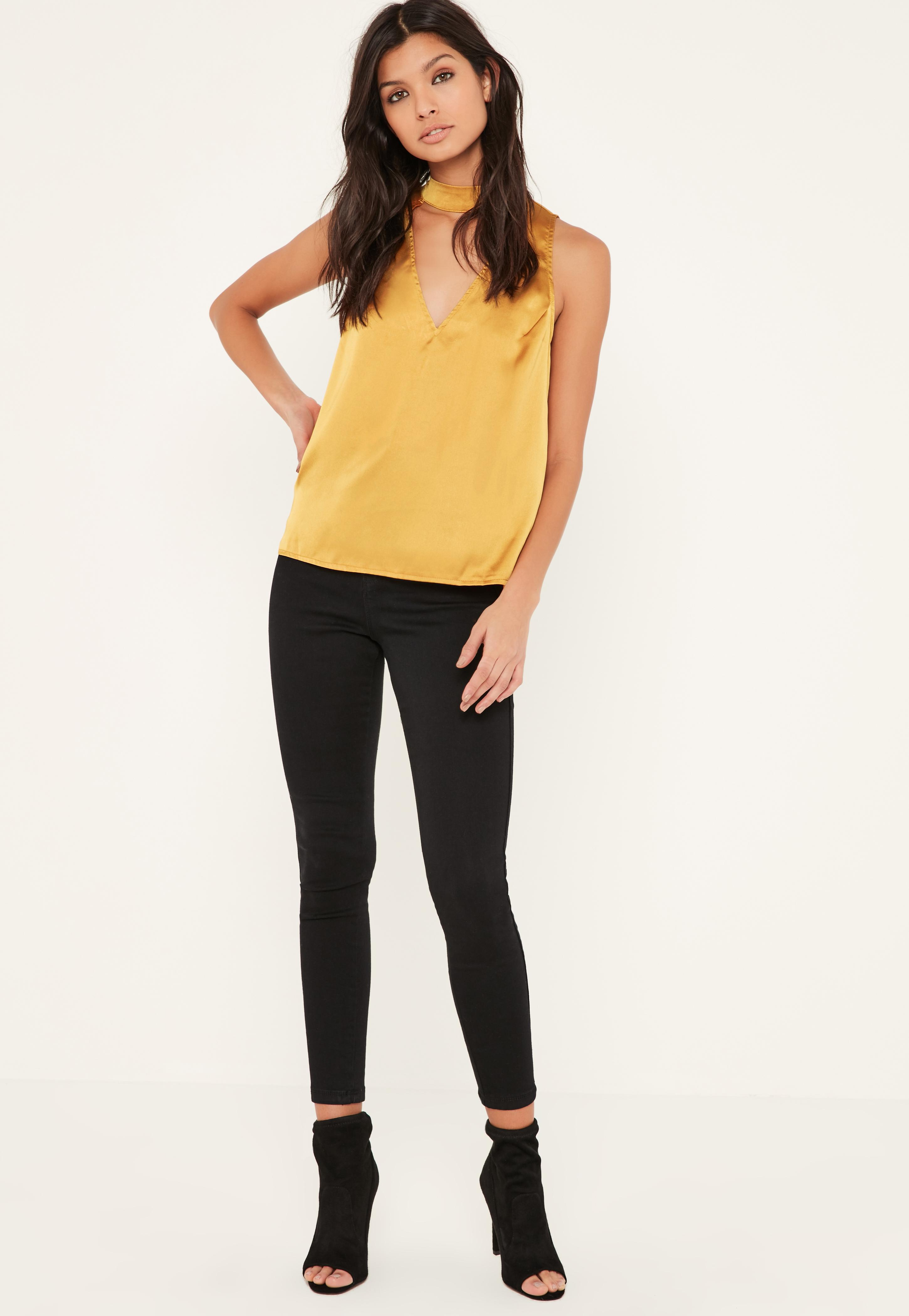 ec7d151acebf54 Lyst - Missguided Yellow Satin Sleeveless Choker Neck Blouse in Yellow