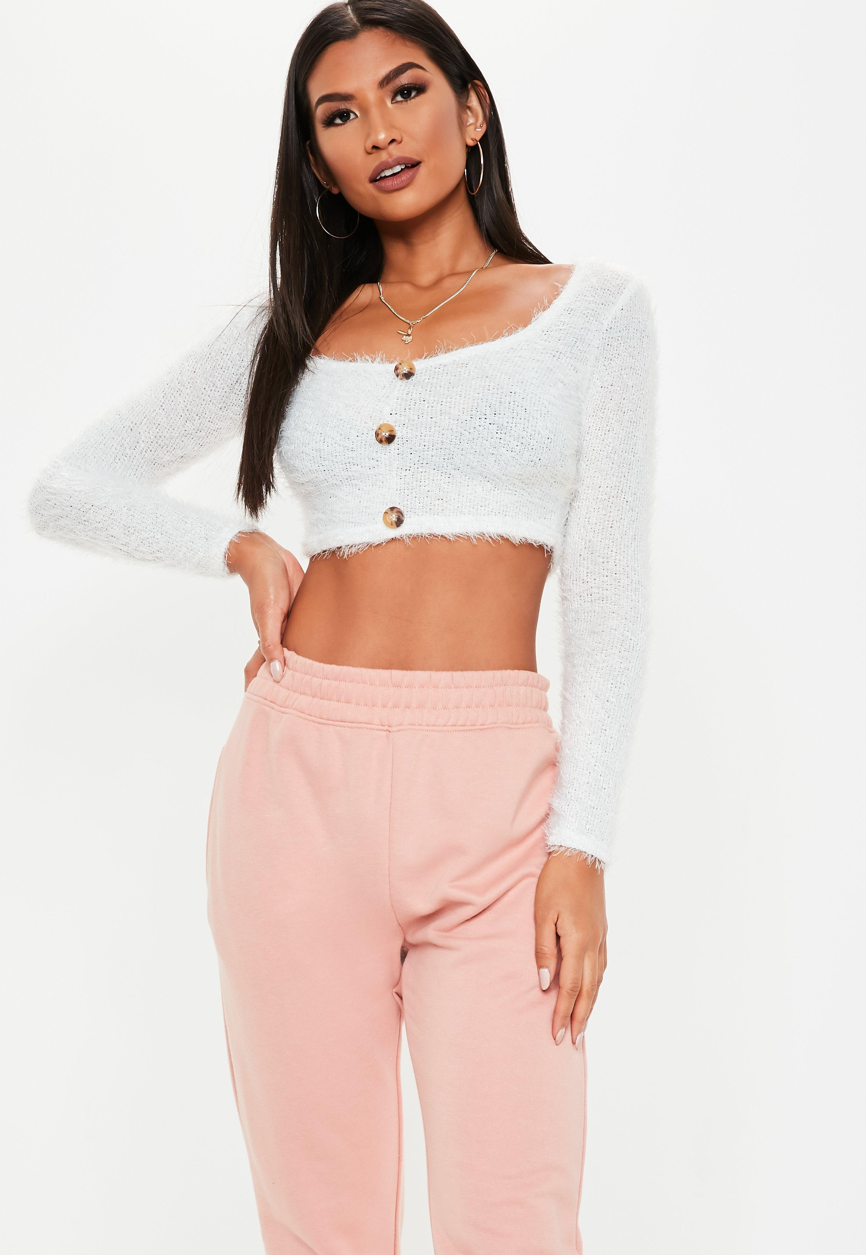 3c14640140cf4 Lyst - Missguided White Fluffy Horn Button Long Sleeve Crop Top in White