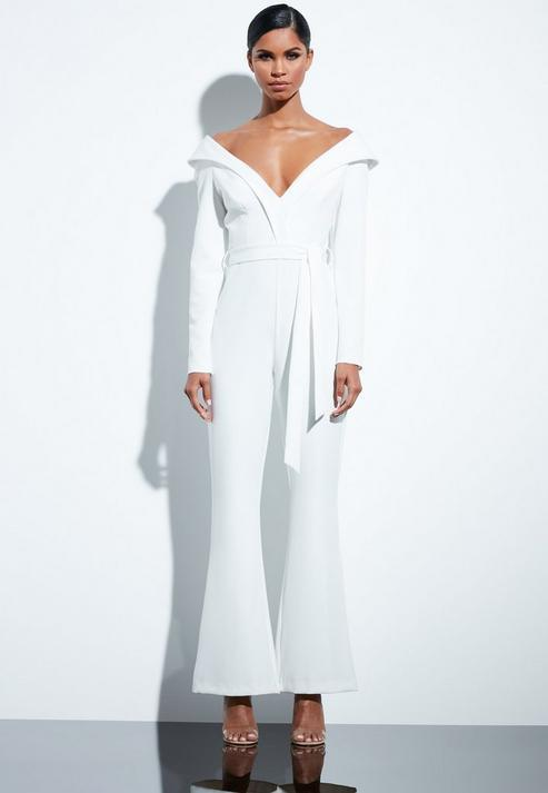 4ad70e5f415b Missguided Peace + Love White Bardot Flared Jumpsuit in White - Lyst