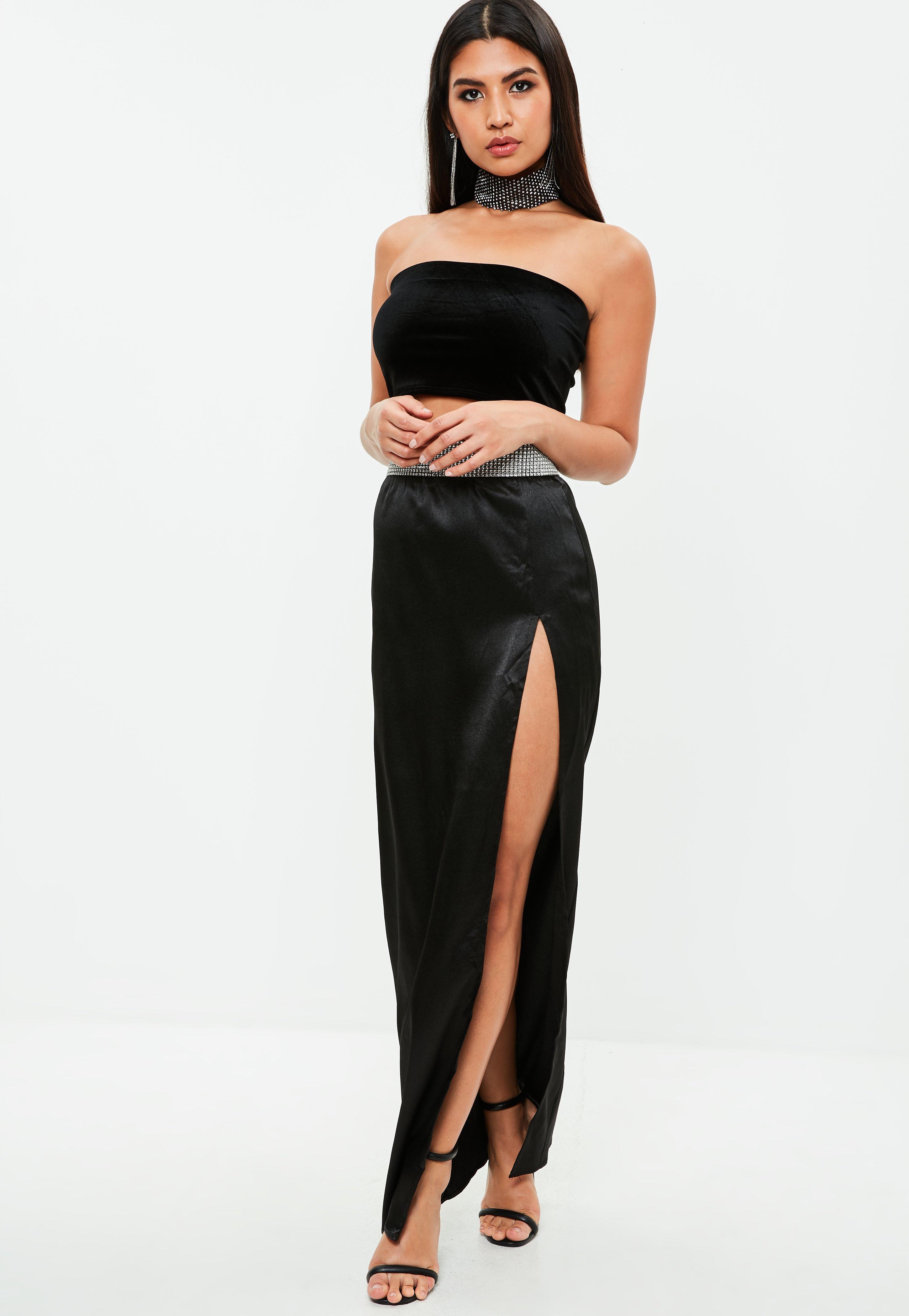 201d846e936 Missguided Black Velvet Bandeau Bralet Top in Black - Lyst