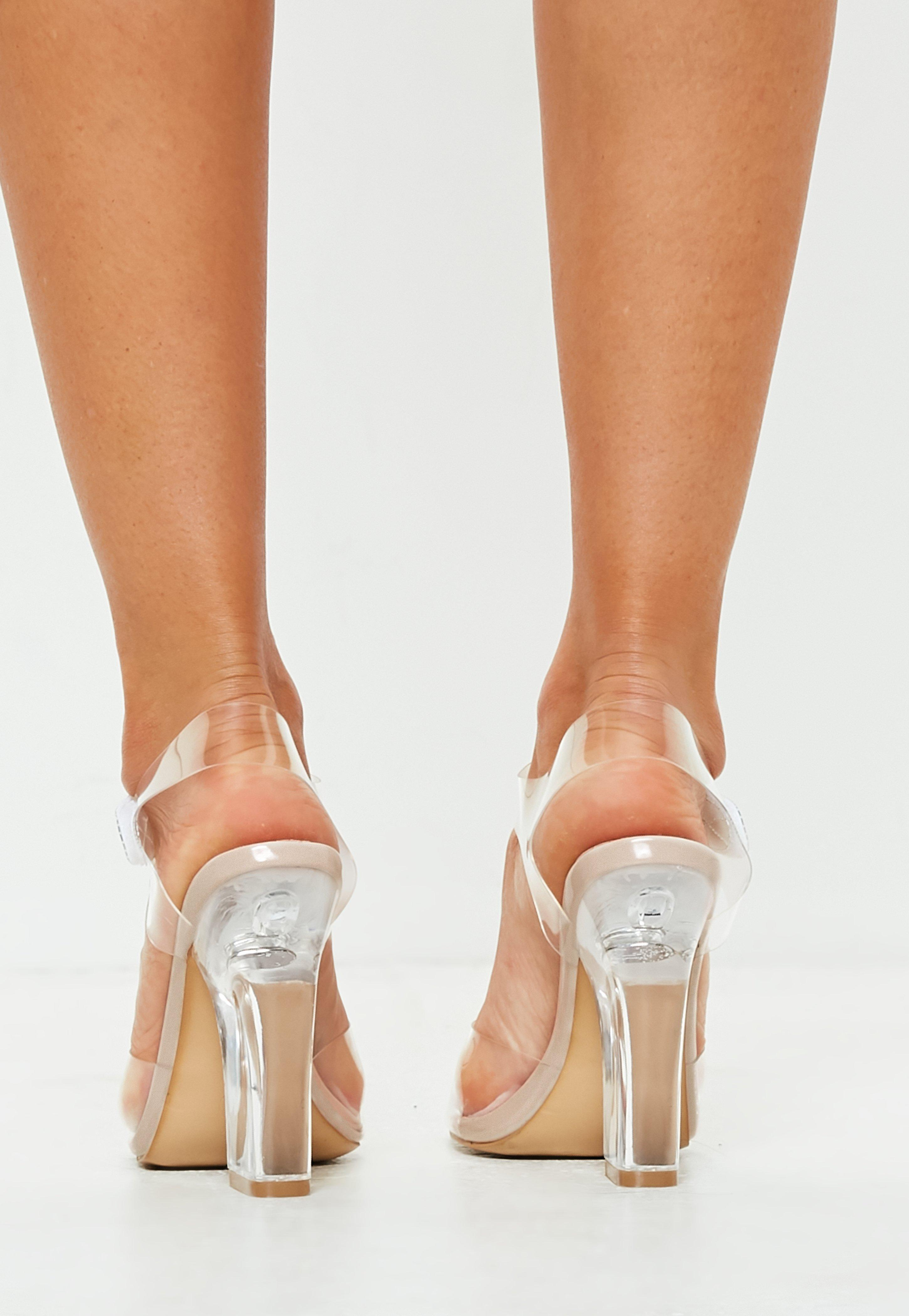 Nude Wide Fit Clear High Block Strappy Heel Sandals