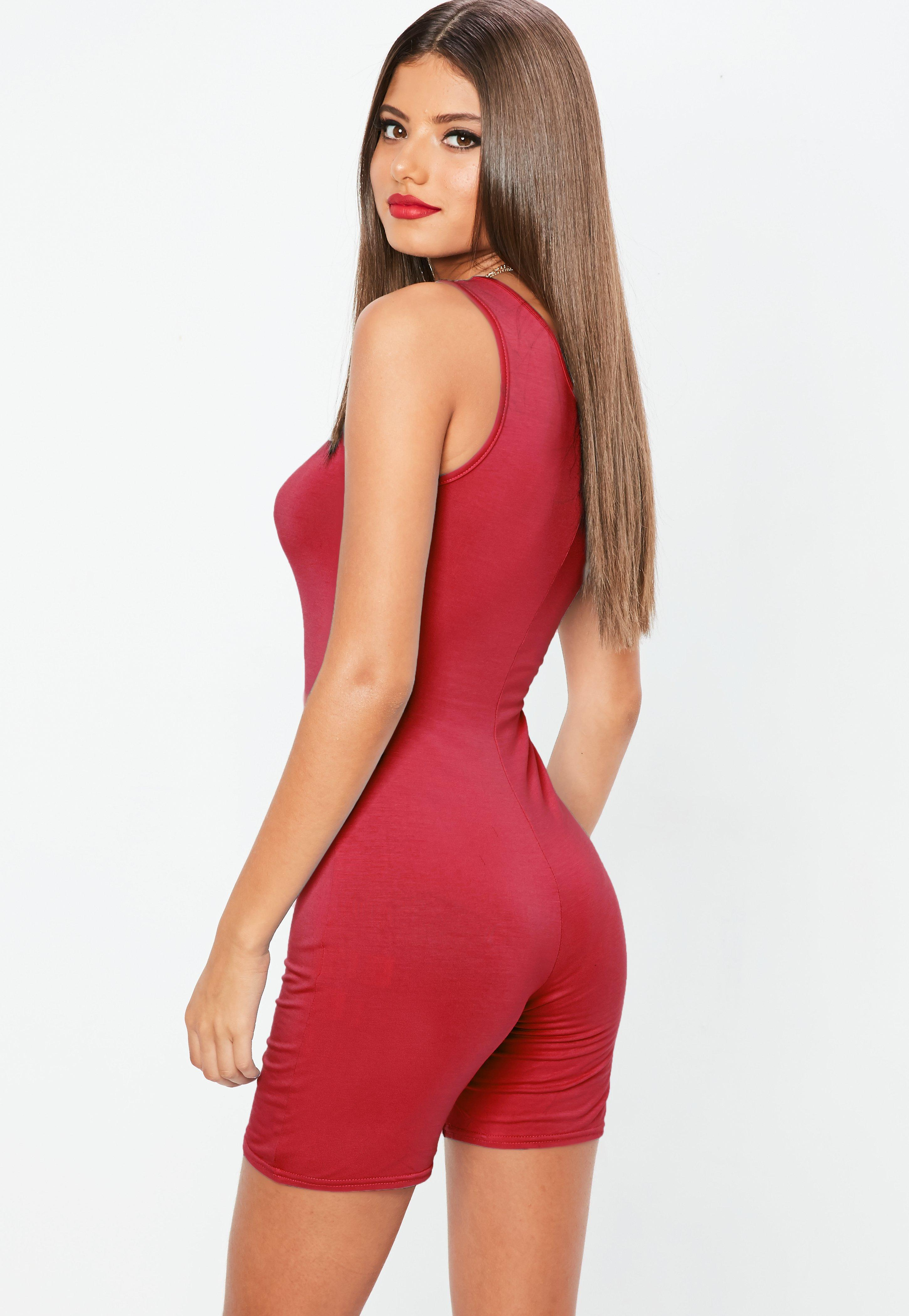 30b223ddcf Missguided - Red Cycling Unitard Playsuit - Lyst. View fullscreen