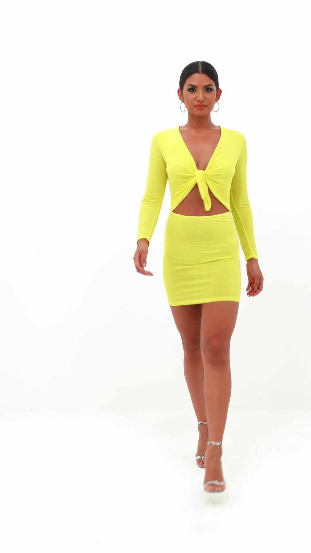 96d61849ef86 Missguided Yellow Tie Front Long Sleeve Bodycon Mini Dress in Yellow ...