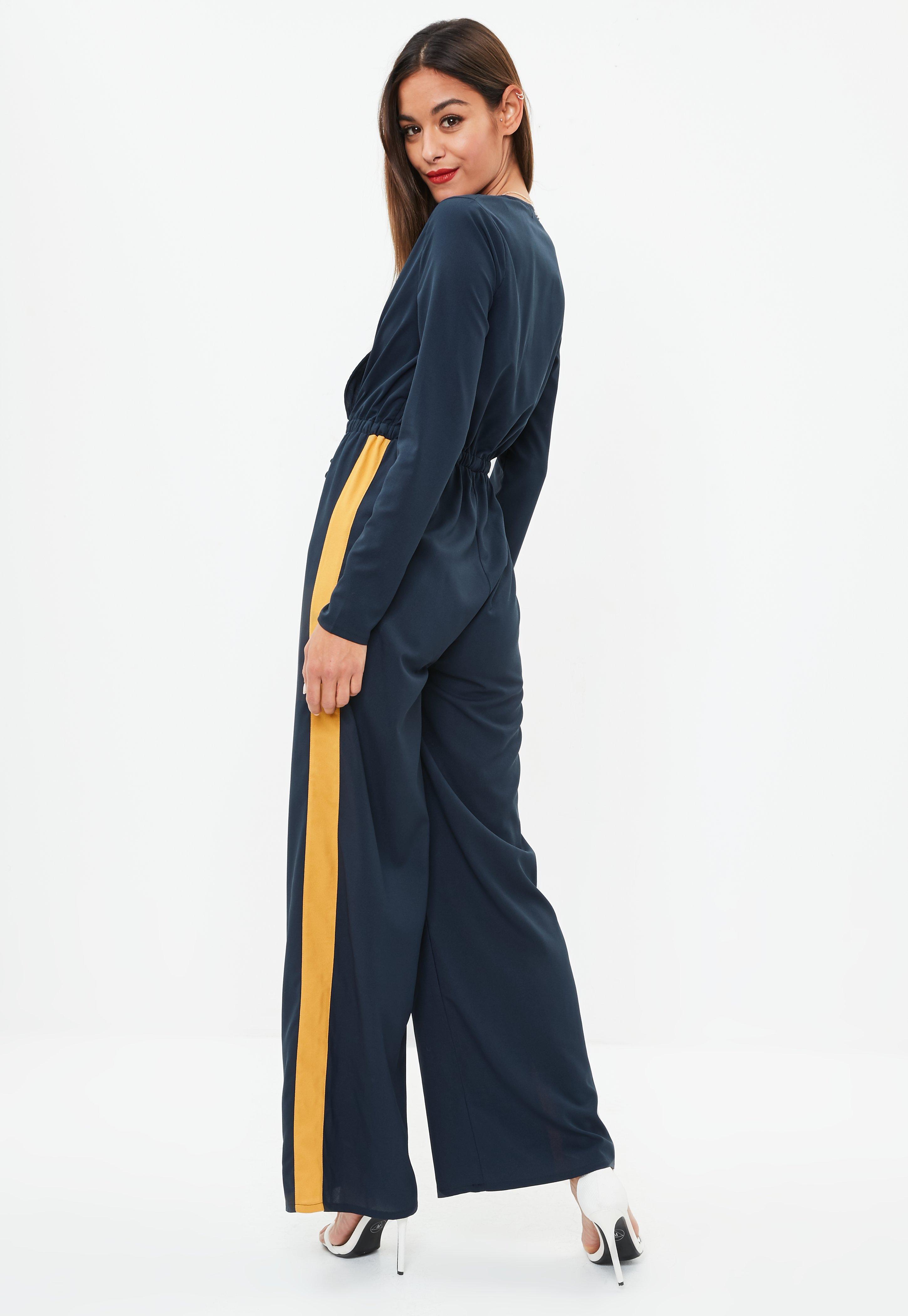 b0a5bdaa6bd Lyst - Missguided Navy Wrap Side Stripe Wide Leg Jumpsuit in Blue