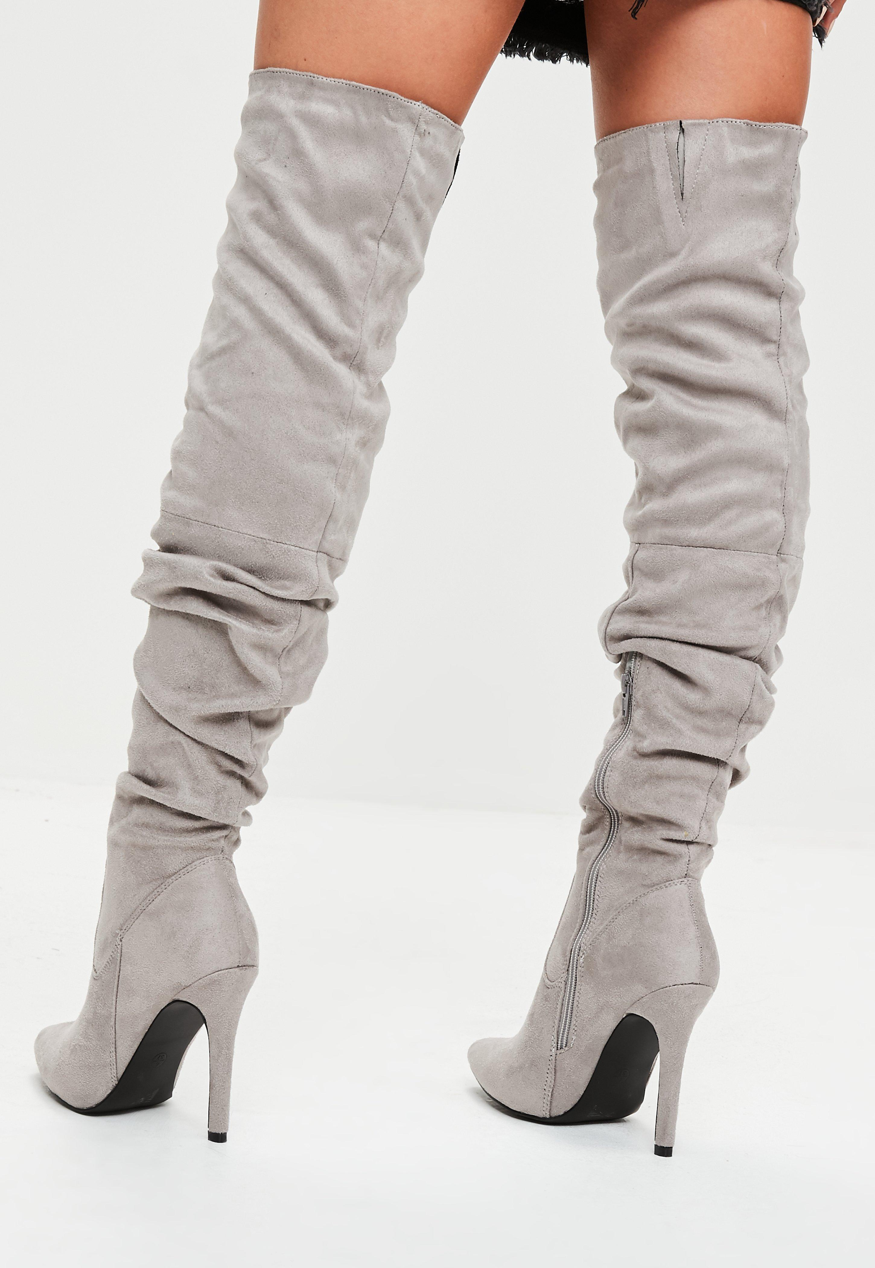7526eb0f4c5 Lyst - Missguided Grey Faux Suede Over The Knee Ruched Boots in Gray