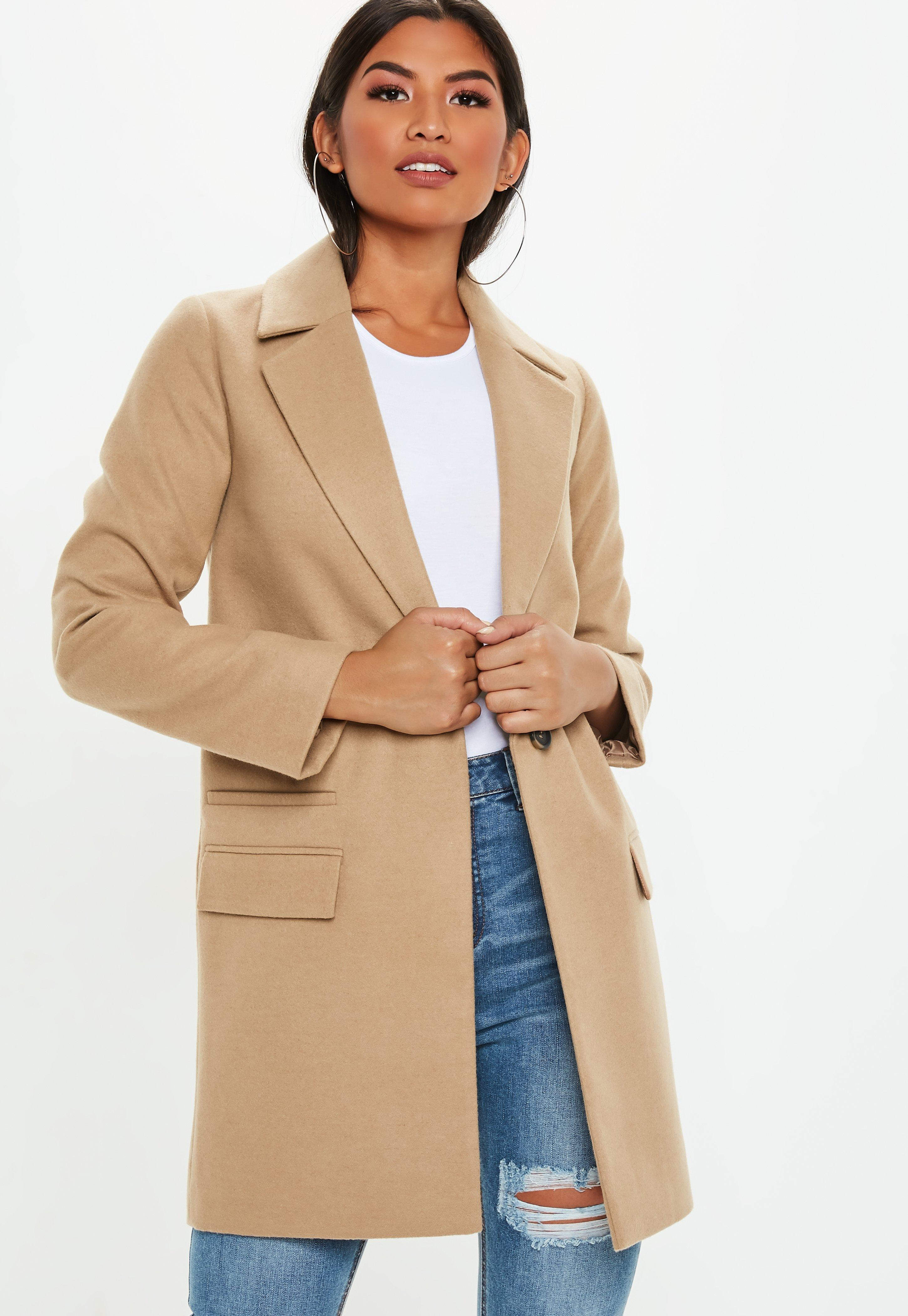 c36a2e0b2d001c Lyst - Missguided Camel Button Front Slim Coat in Natural