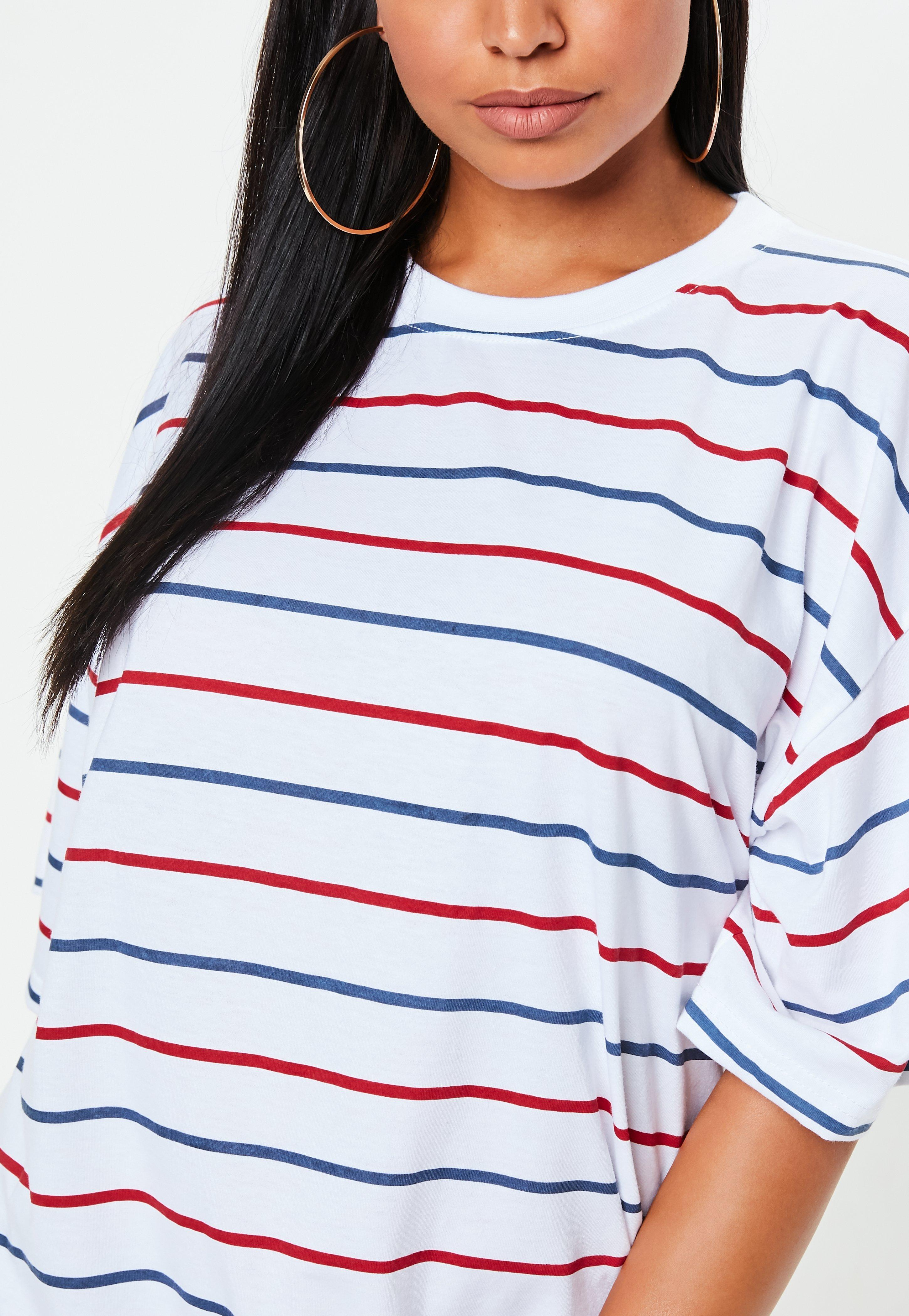 Lyst - Missguided White Oversized Blue And Red Striped T Shirt Dress ... bf128bdc5