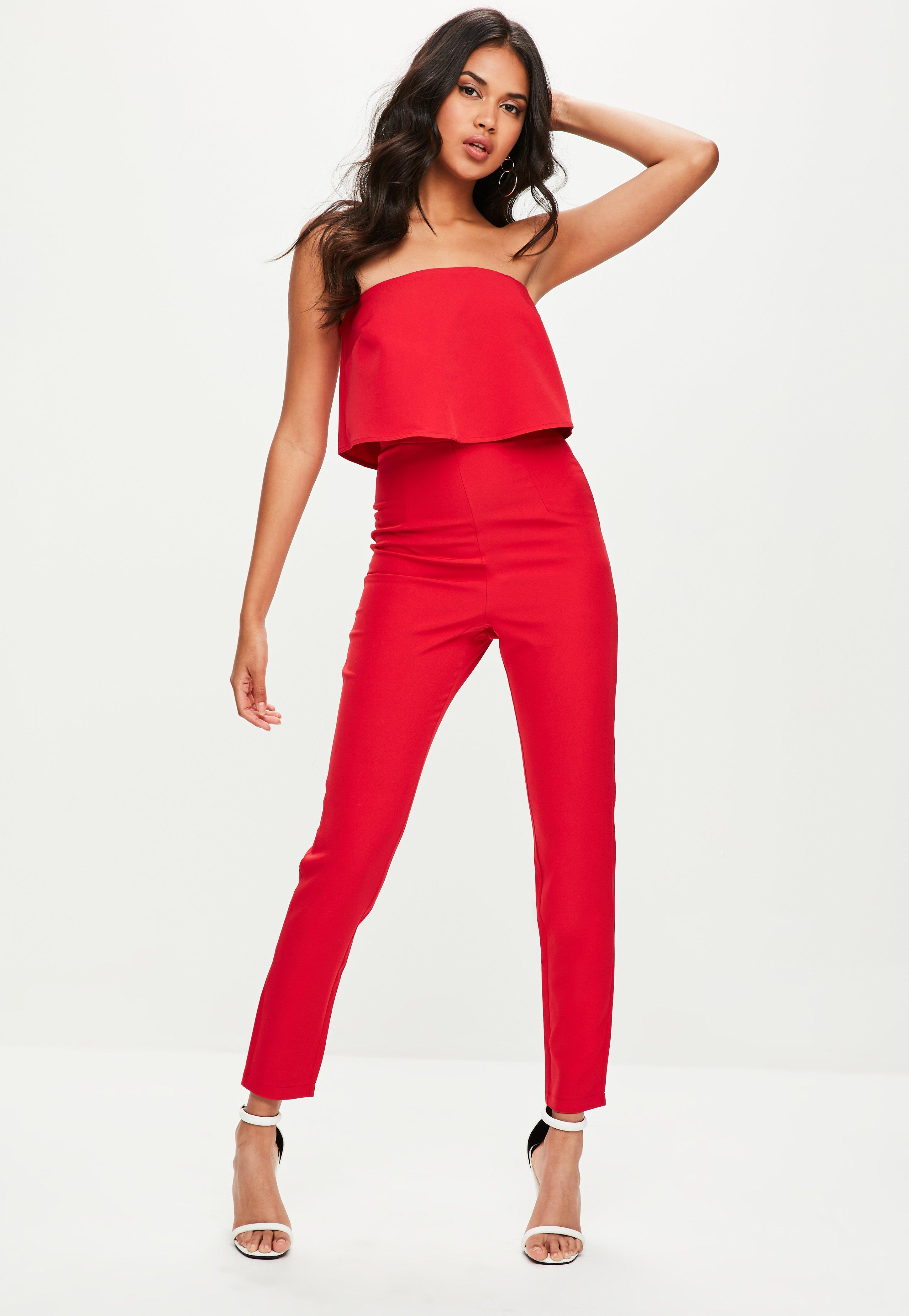 3320c38b3660 Missguided Red Bandeau Double Layer Jumpsuit in Red - Save 74% - Lyst