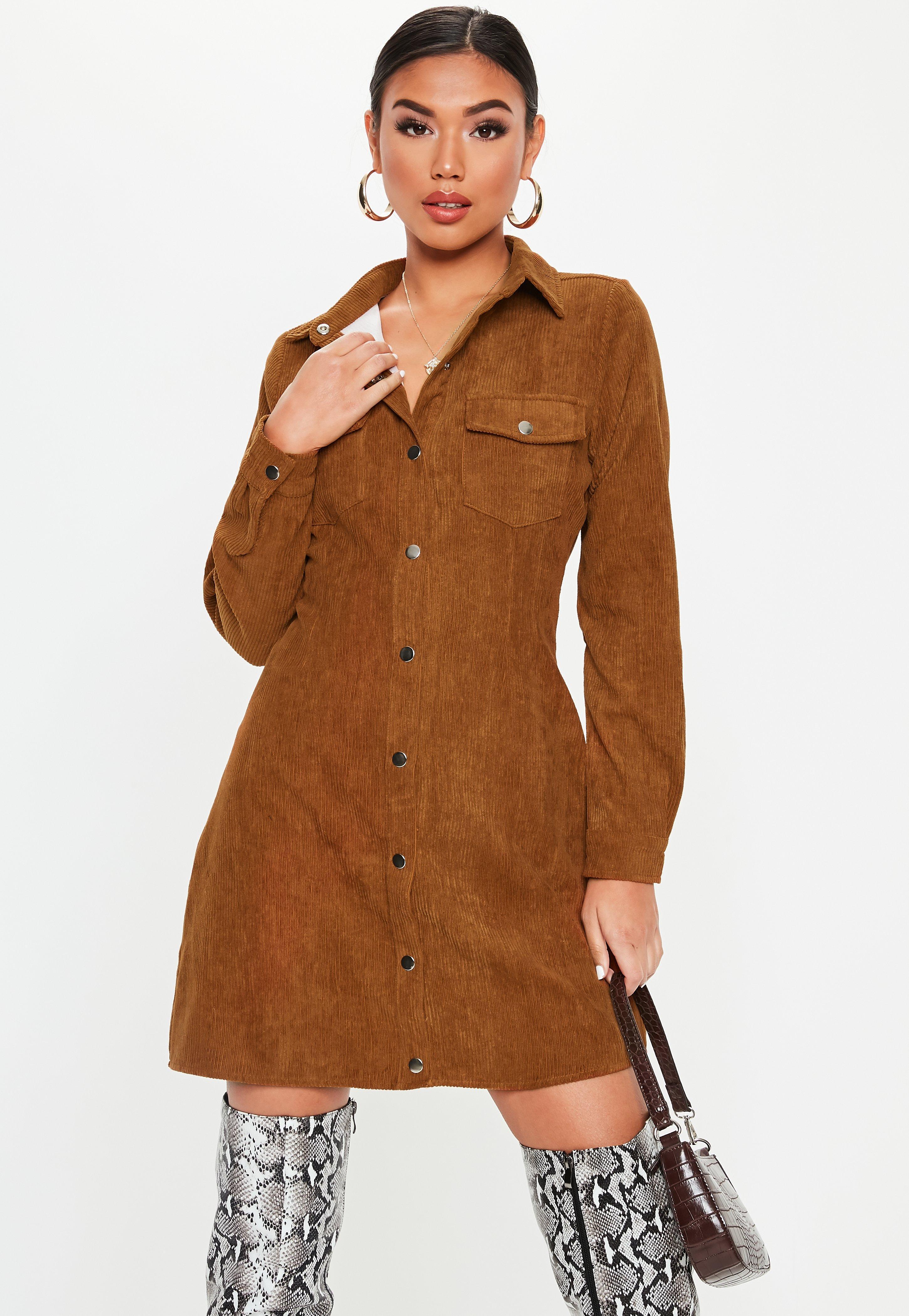b28cbb6e65 Lyst - Missguided Rust Cord Skater Shirt Dress in Brown