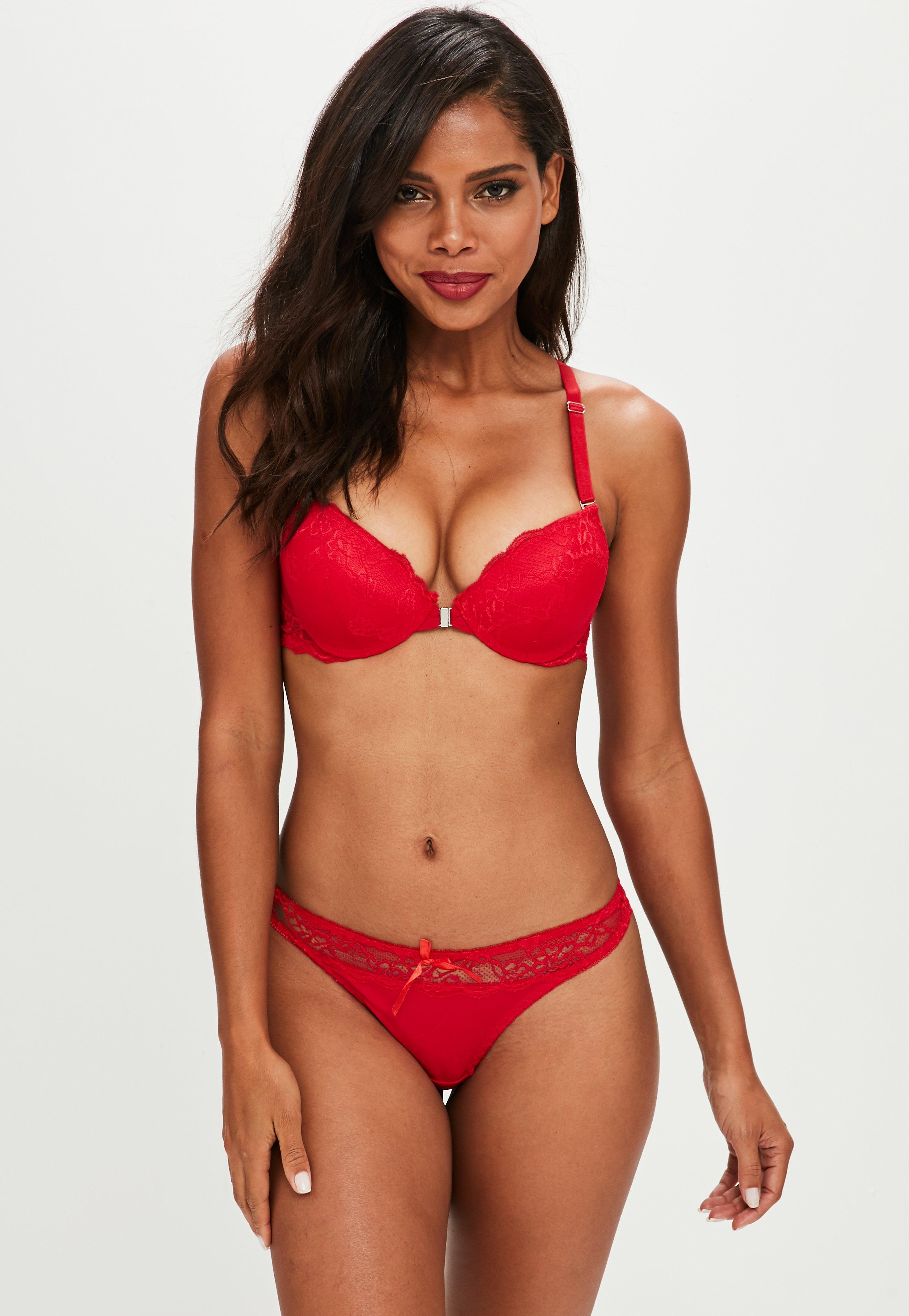 7d5f516db1e86 Lyst - Missguided Red Front Fastening Lace Racer Bra And Thong Set ...