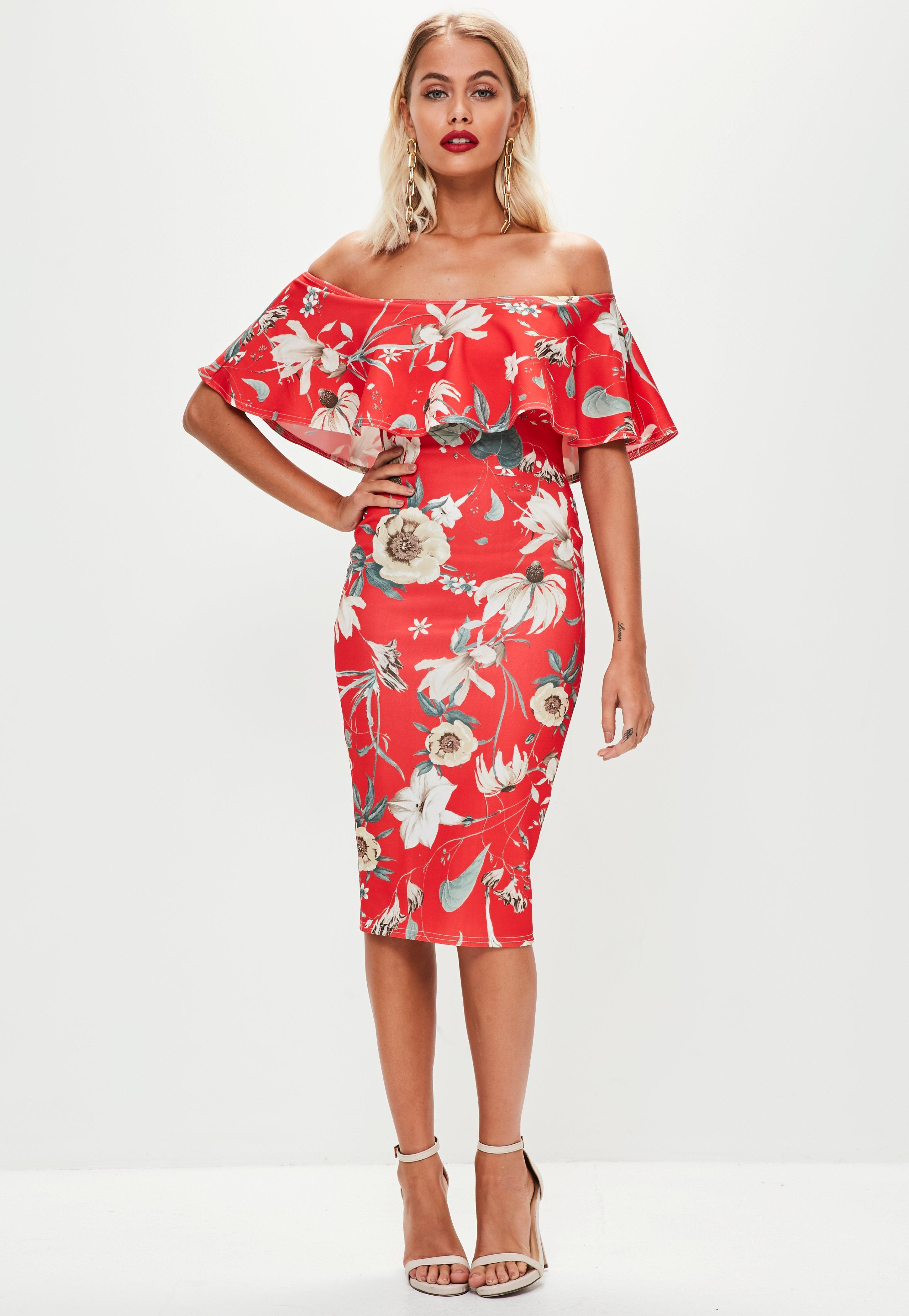 eb7e2020f Missguided Red Floral Print Frill Bandeau Dress in Red - Lyst