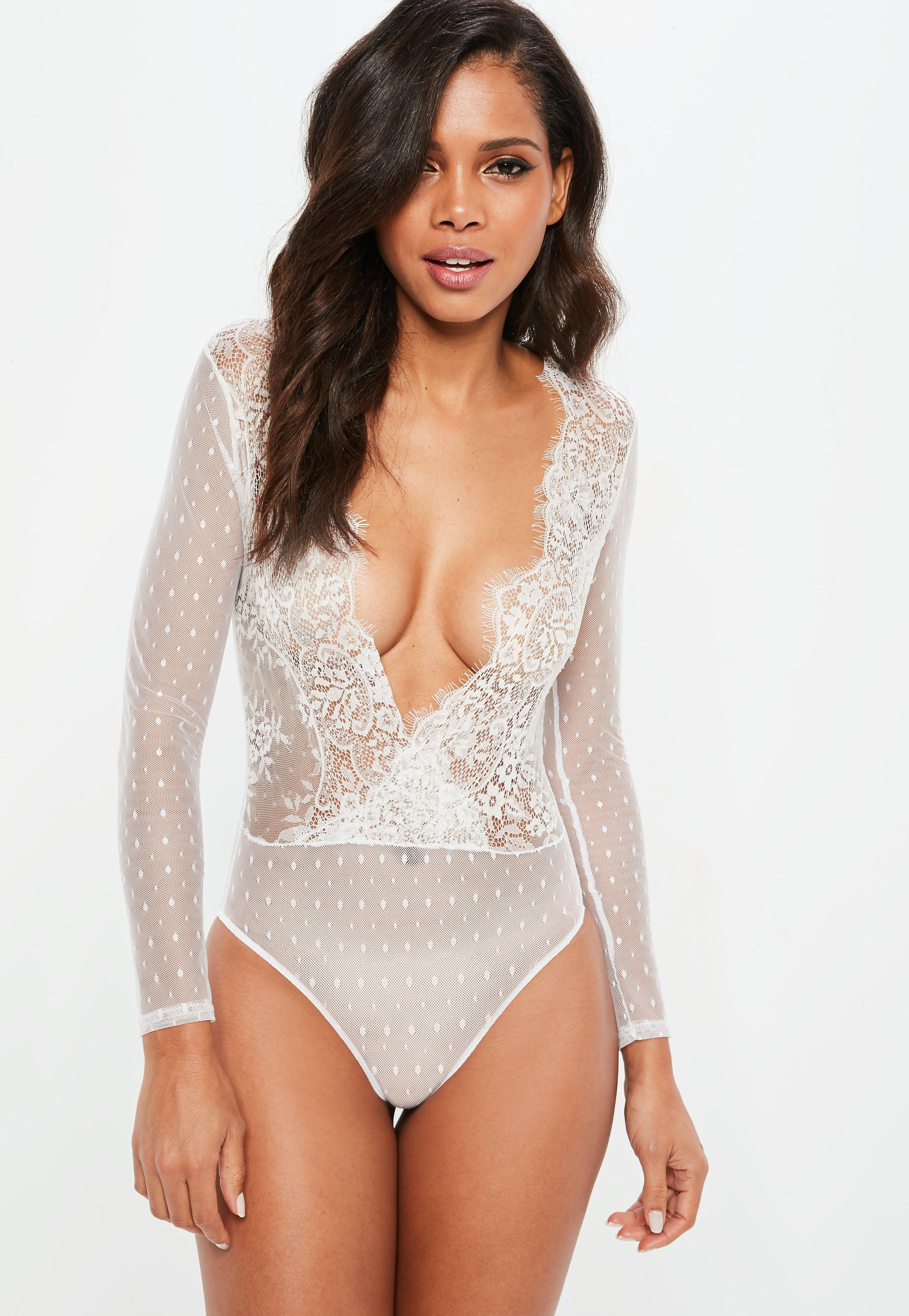 18f79f3bf4 Missguided White Long Sleeve Polka Mesh Lace Bodysuit in White - Lyst