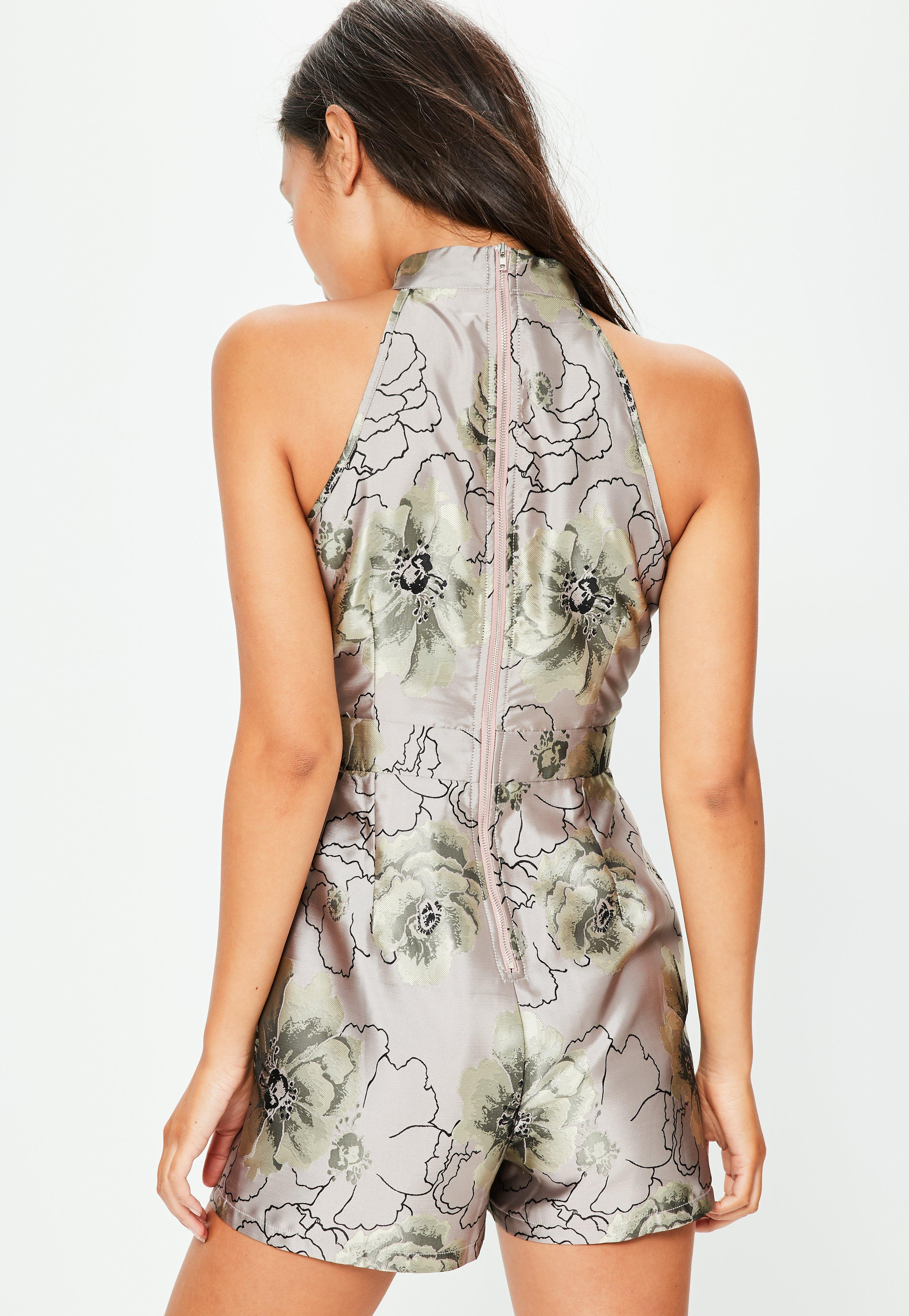 d393951445 Lyst - Missguided Silver Jacquard Floral Print High Neck Playsuit in ...