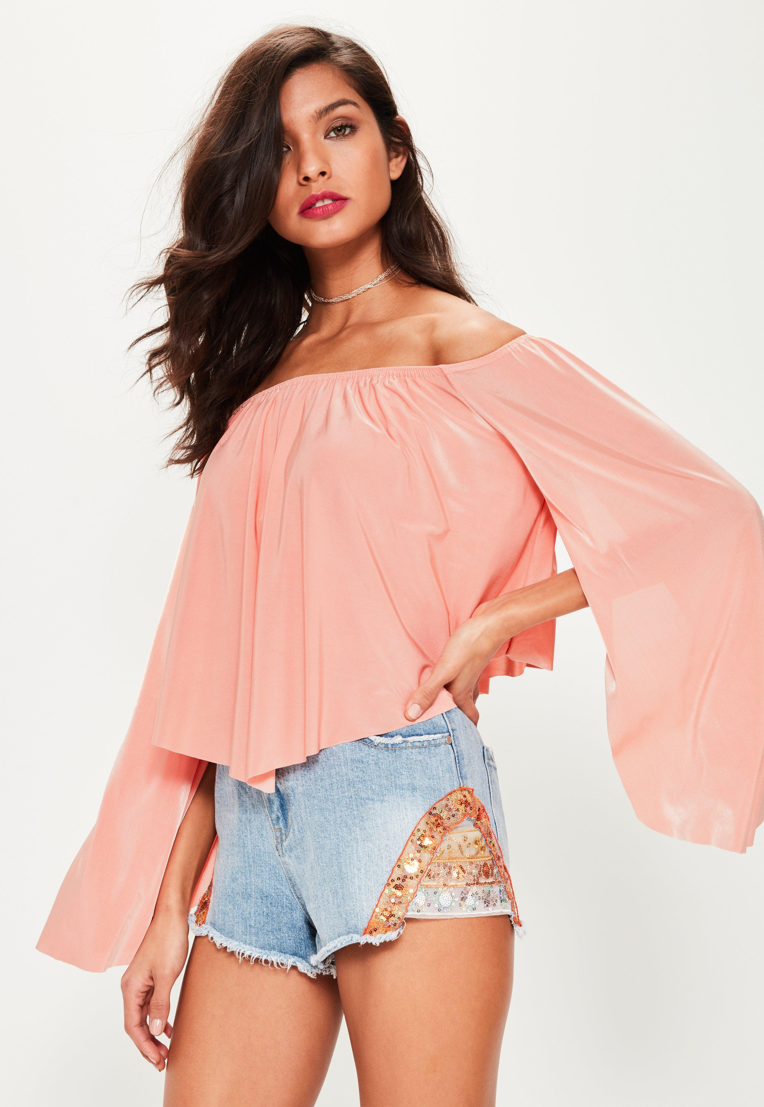 ea960372270df1 Lyst - Missguided Pink Slinky Bardot Flare Sleeve Top in Pink