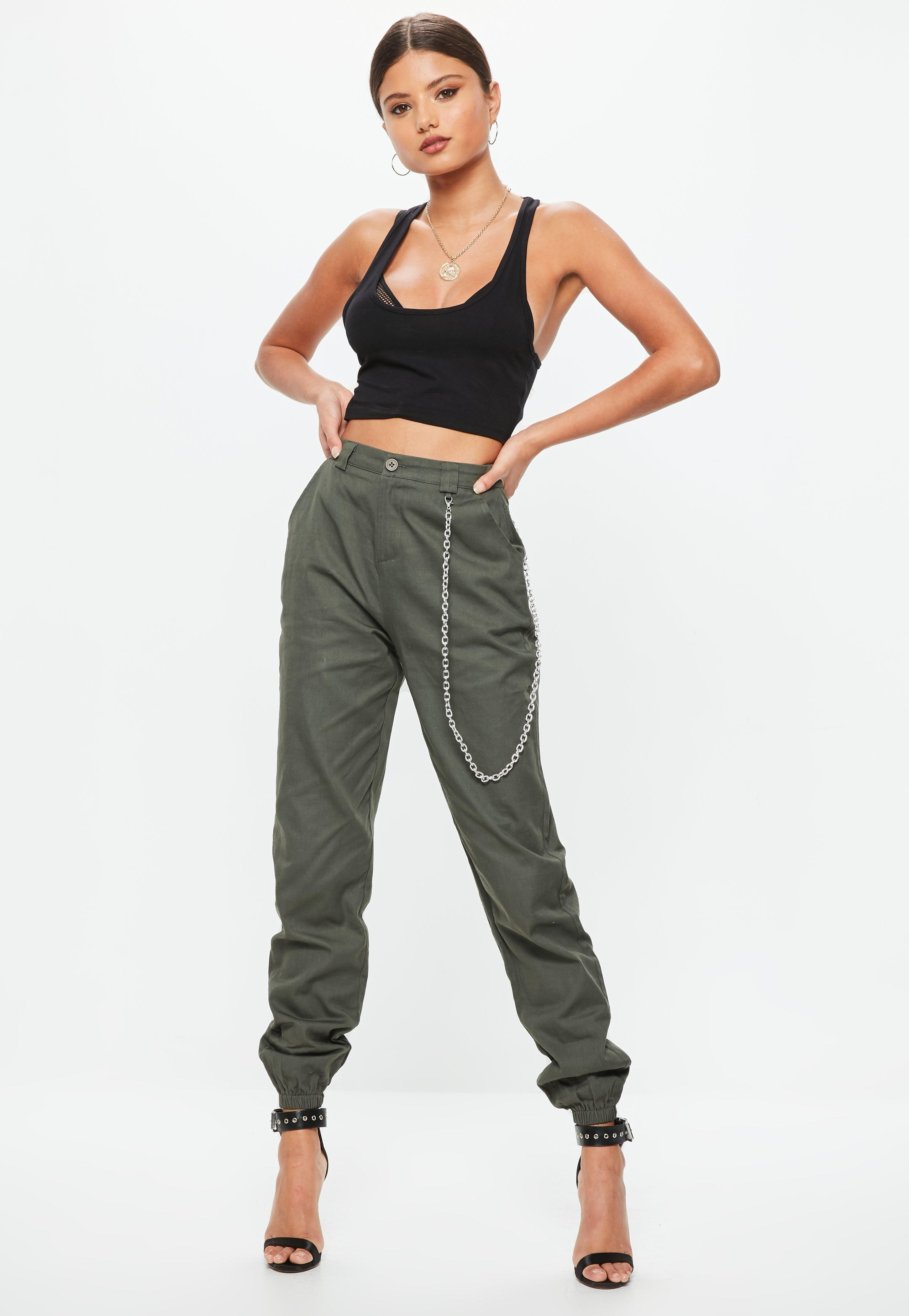 Latest Collections For Sale Missguided Curve Khaki Chain Detail Cargo Trousers 2018 Cheap Price 82GQF
