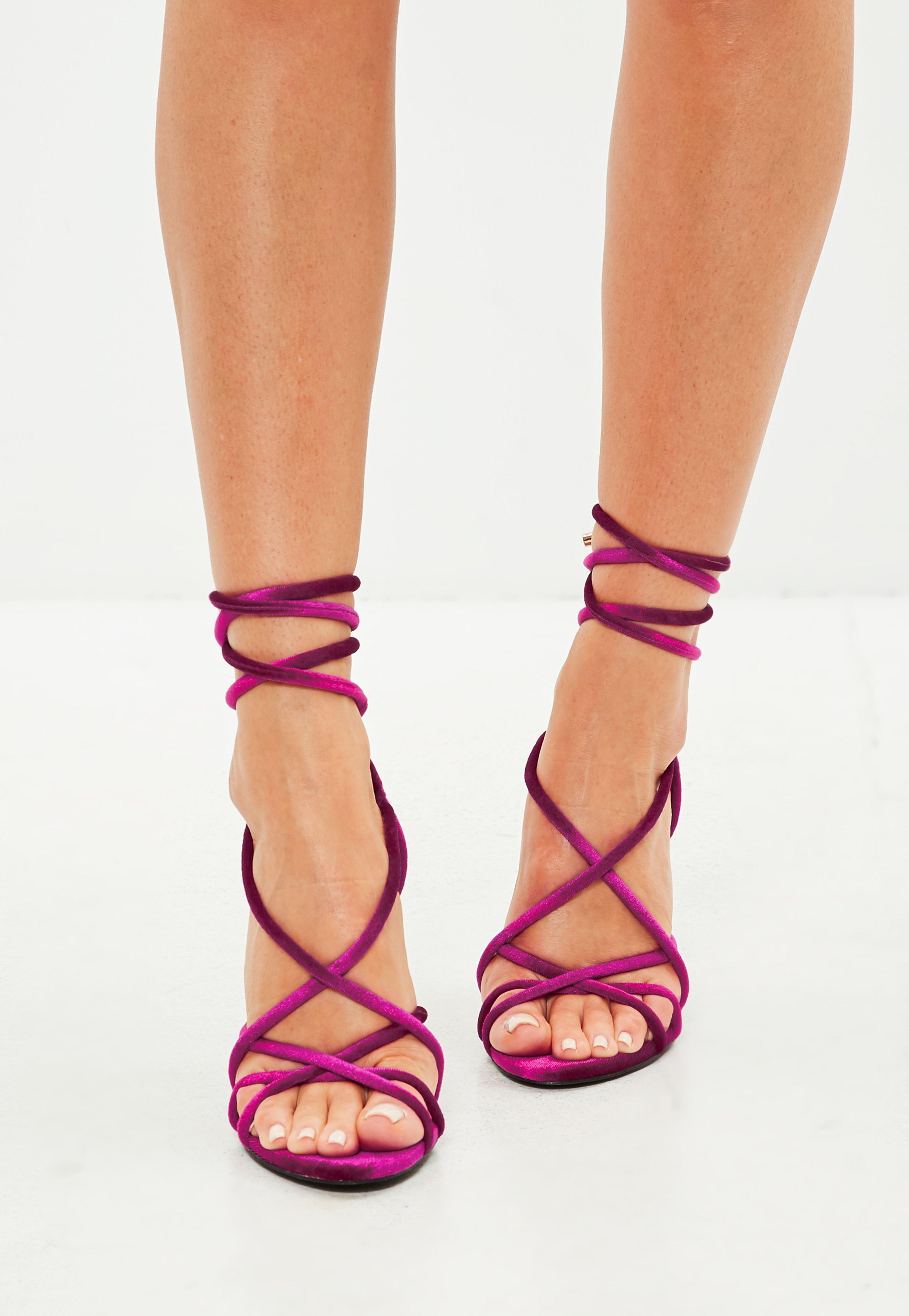 ff2d32659c8b0 Lyst - Missguided Pink Velvet Multi Strap Block Heel Sandals in Pink