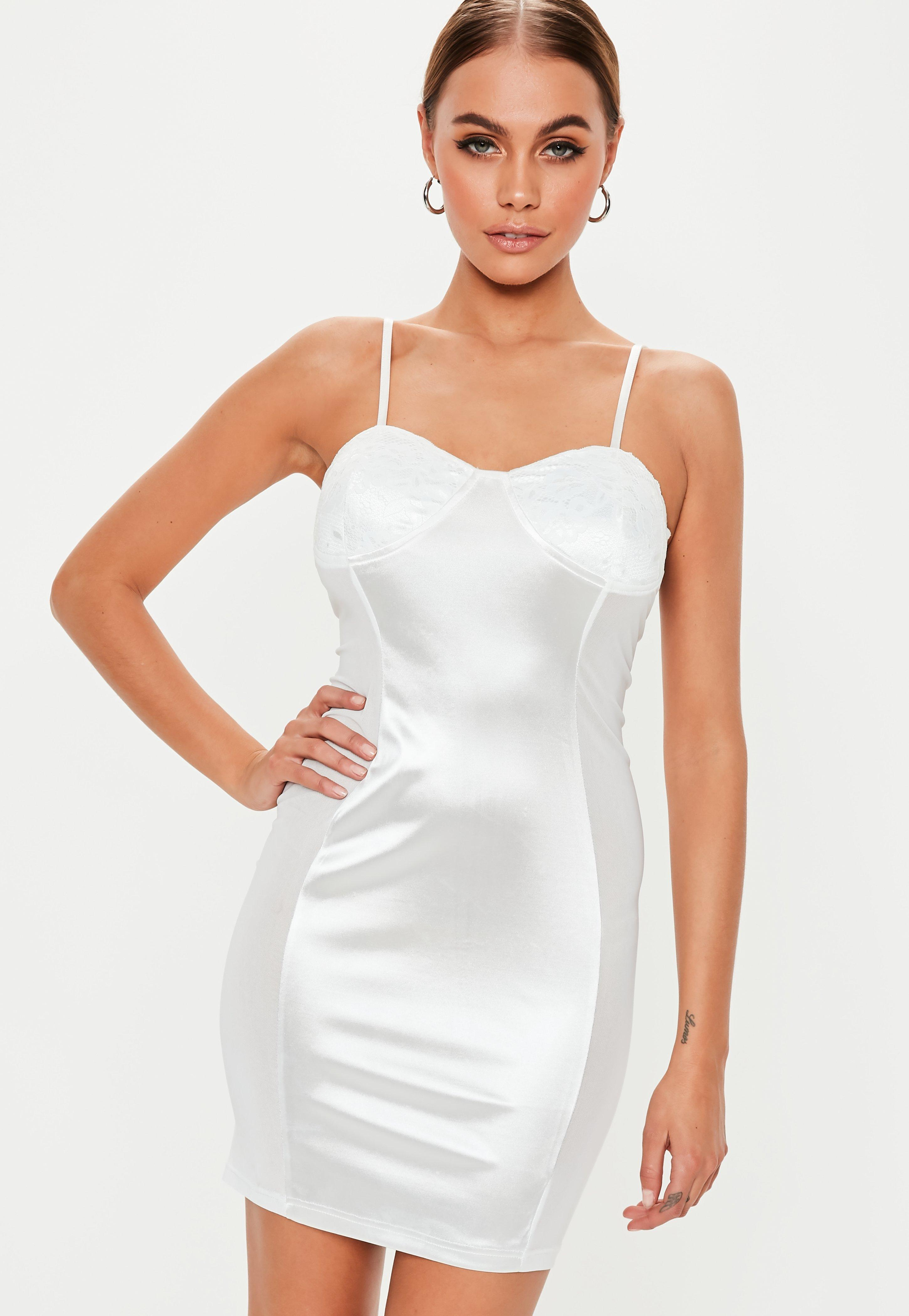 b2eb2f371b4 Missguided White Lace Cup Satin Bodycon Mini Dress in White - Lyst