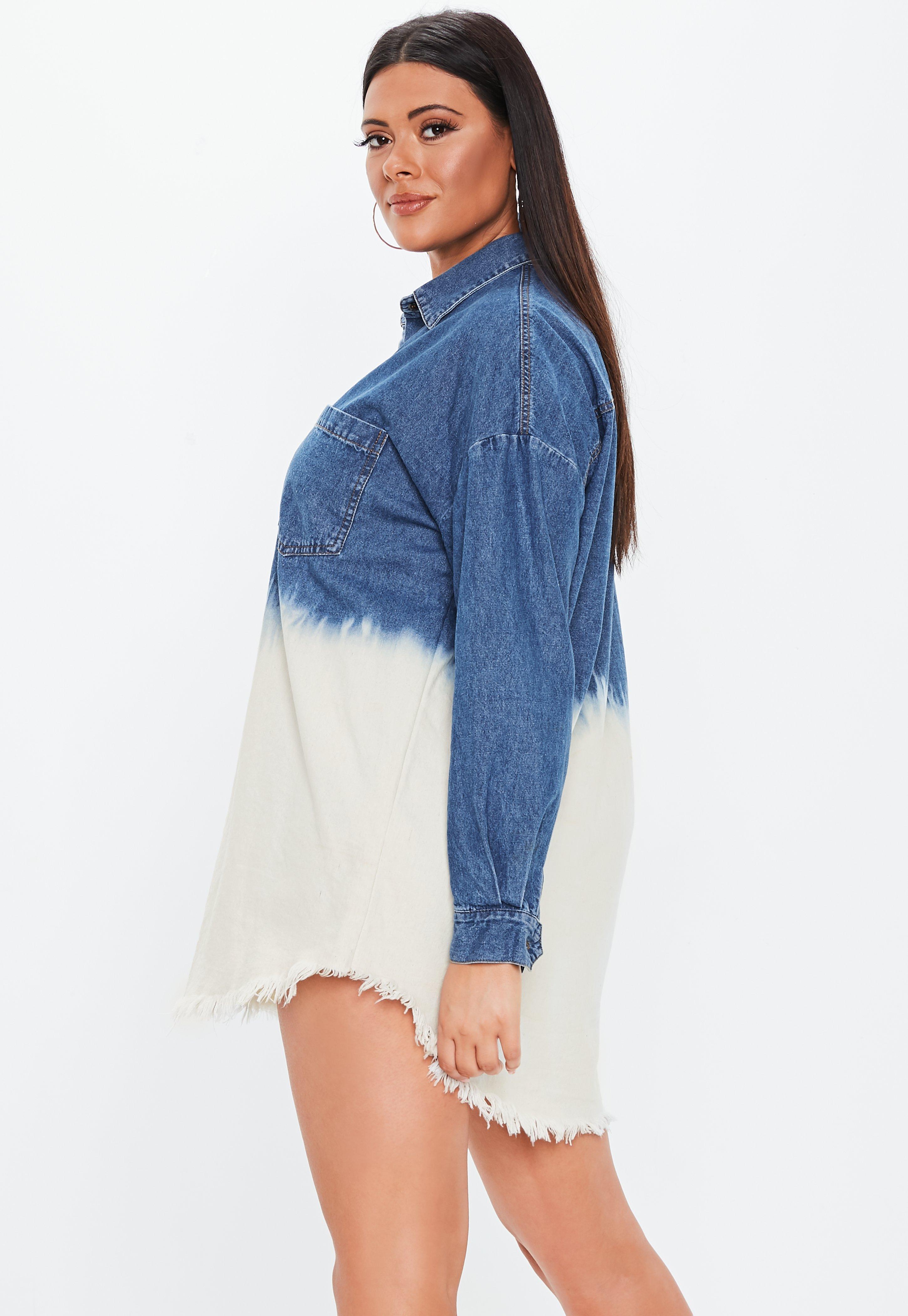 b1c628e0dd Missguided - Plus Size Blue Oversized Dip Dye Denim Shirt Dress - Lyst.  View fullscreen