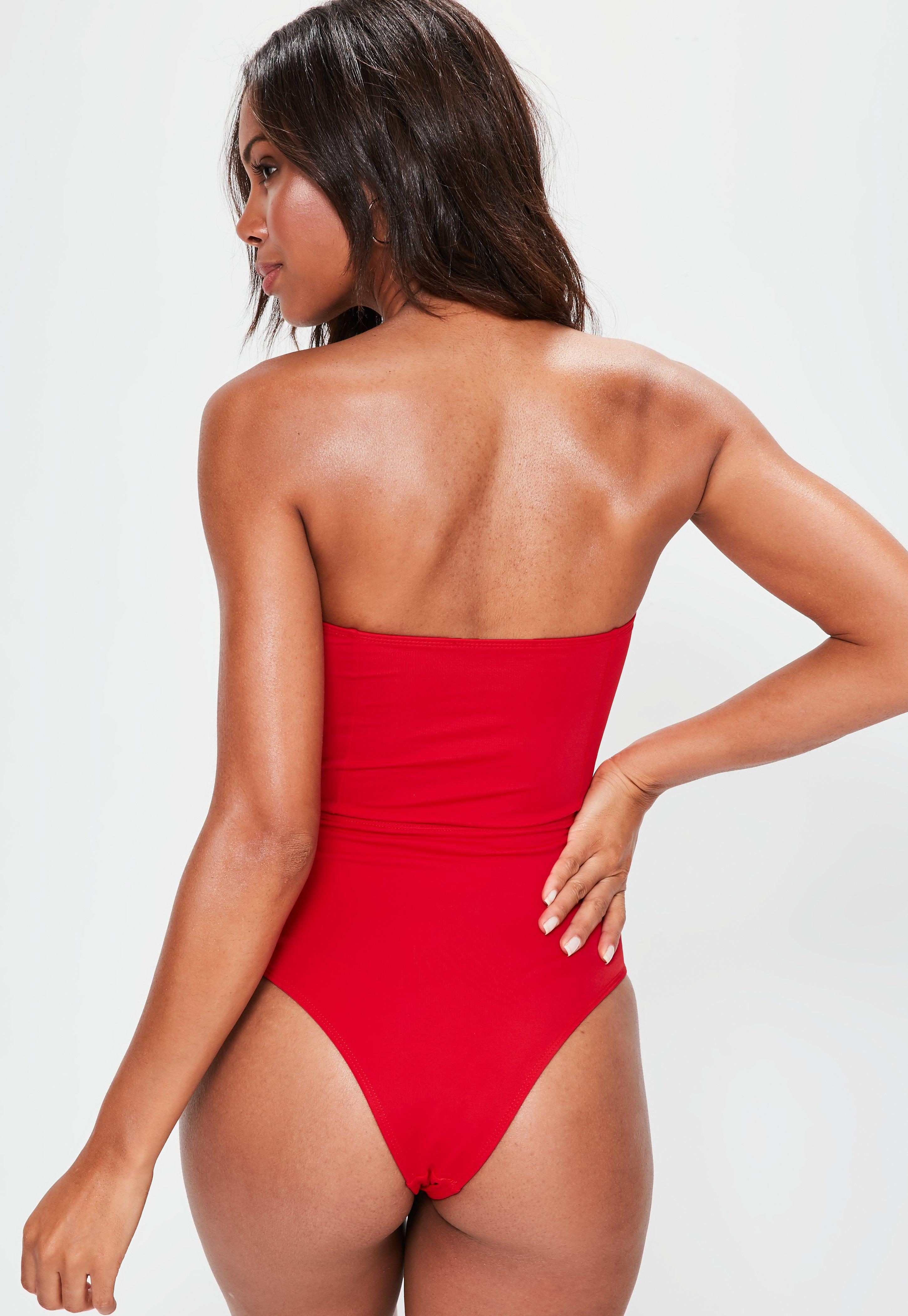 0595b2f3c8 Lyst - Missguided Red Extreme Lace Up Swimsuit in Red