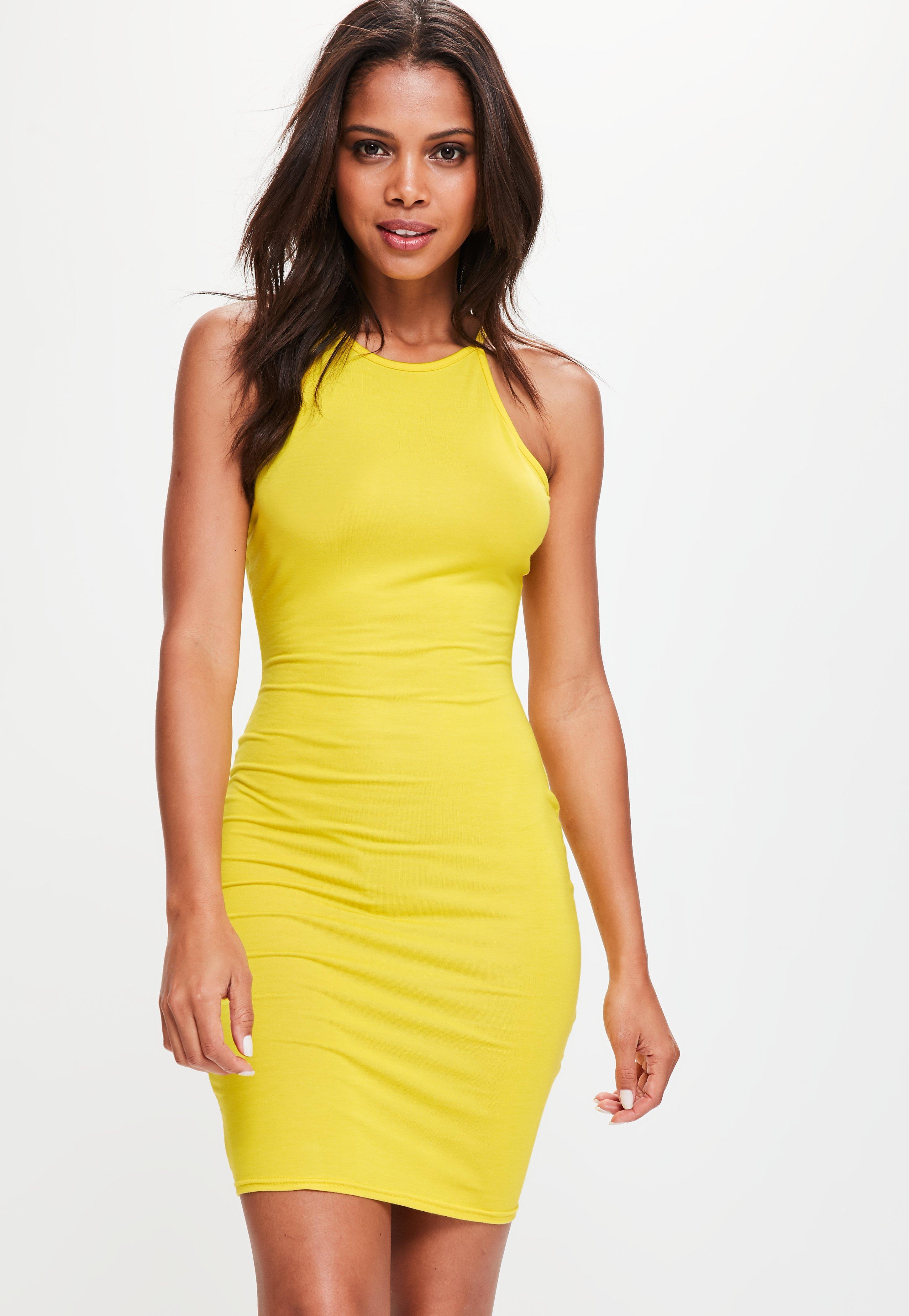 Yellow latex bodycon dress women boutique
