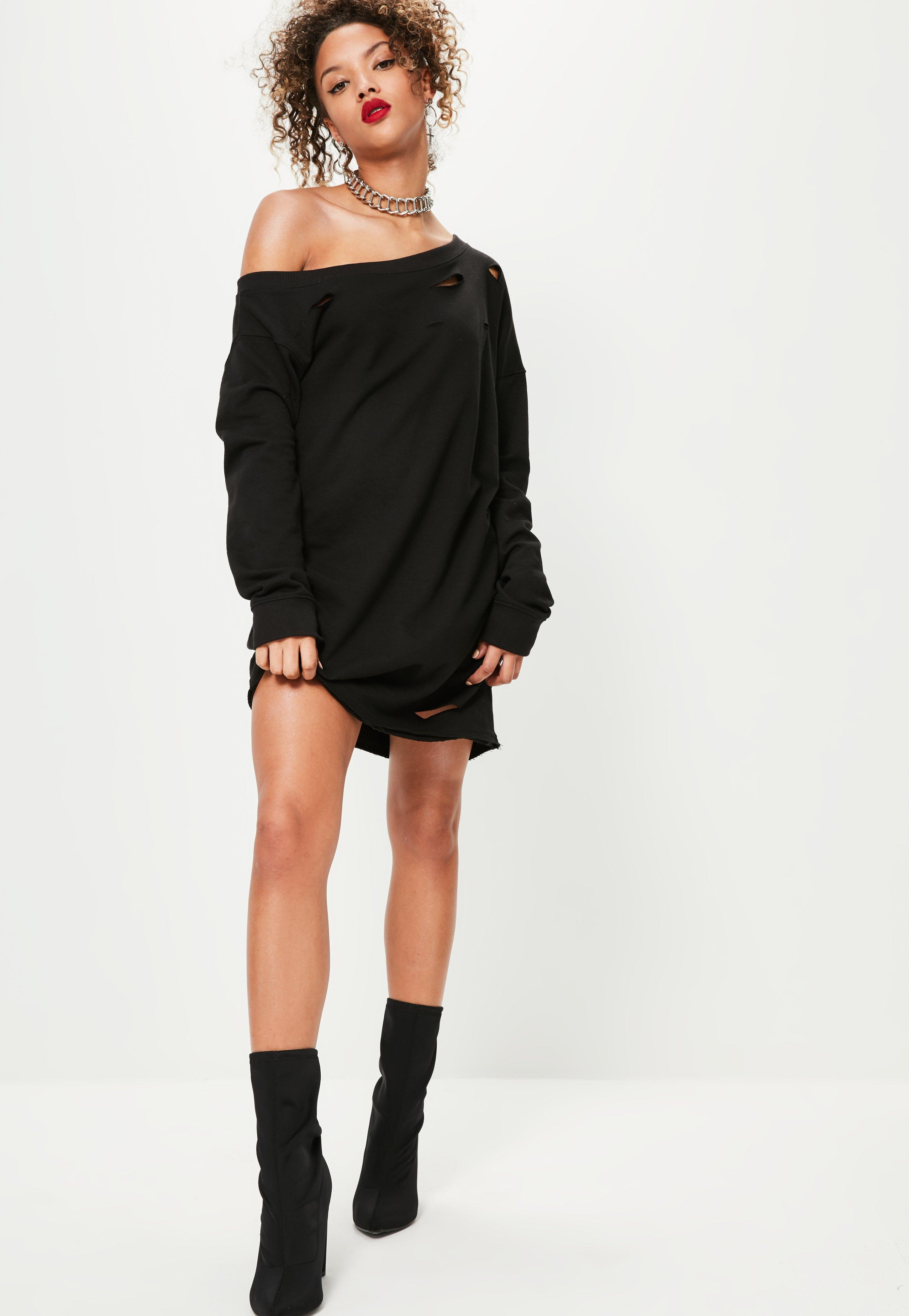 Missguided Ripped Oversized Jumper Dress Black in Black | Lyst