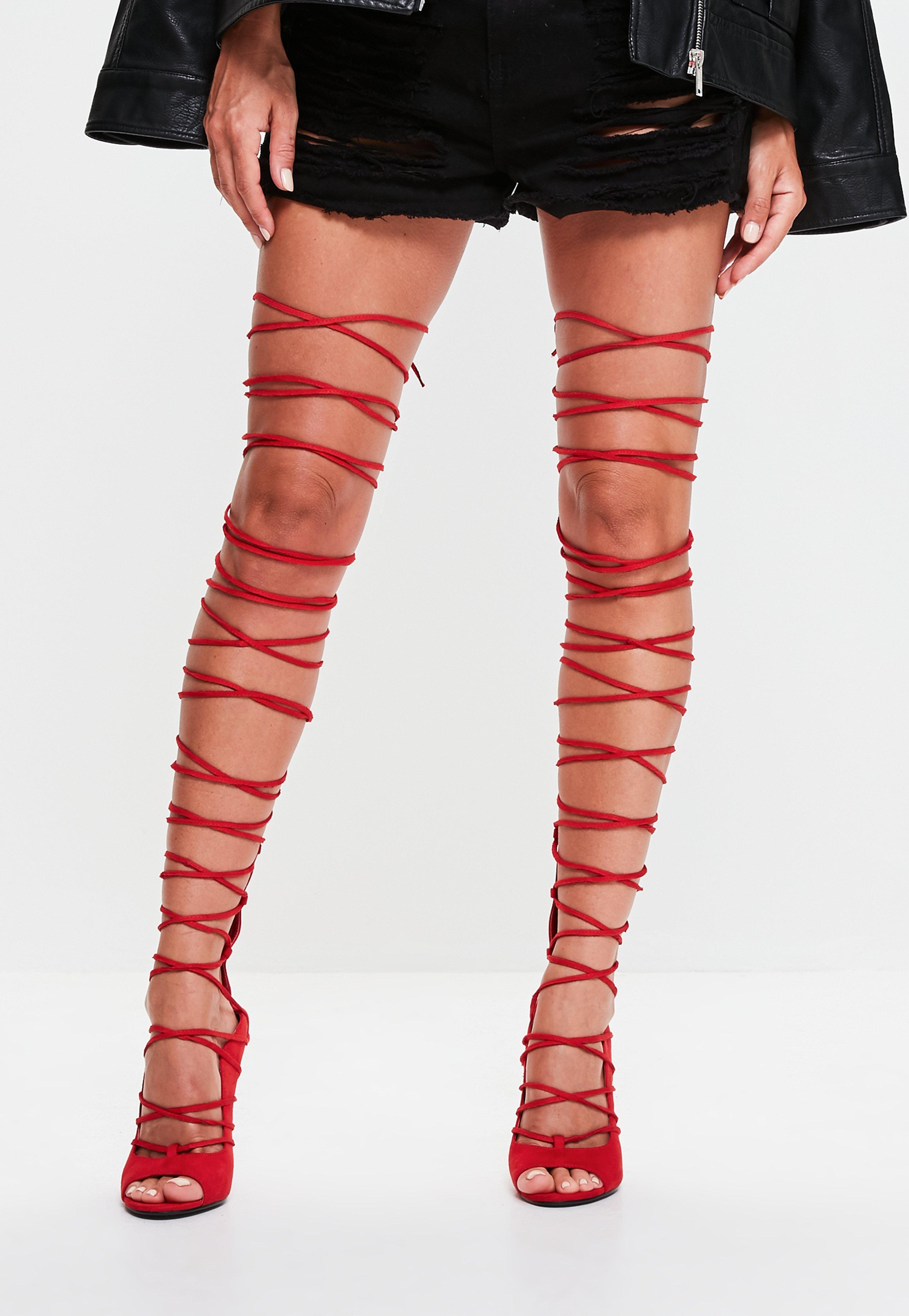 Lyst - Missguided Red Lace Up Knee High Gladiator Sandals in Red