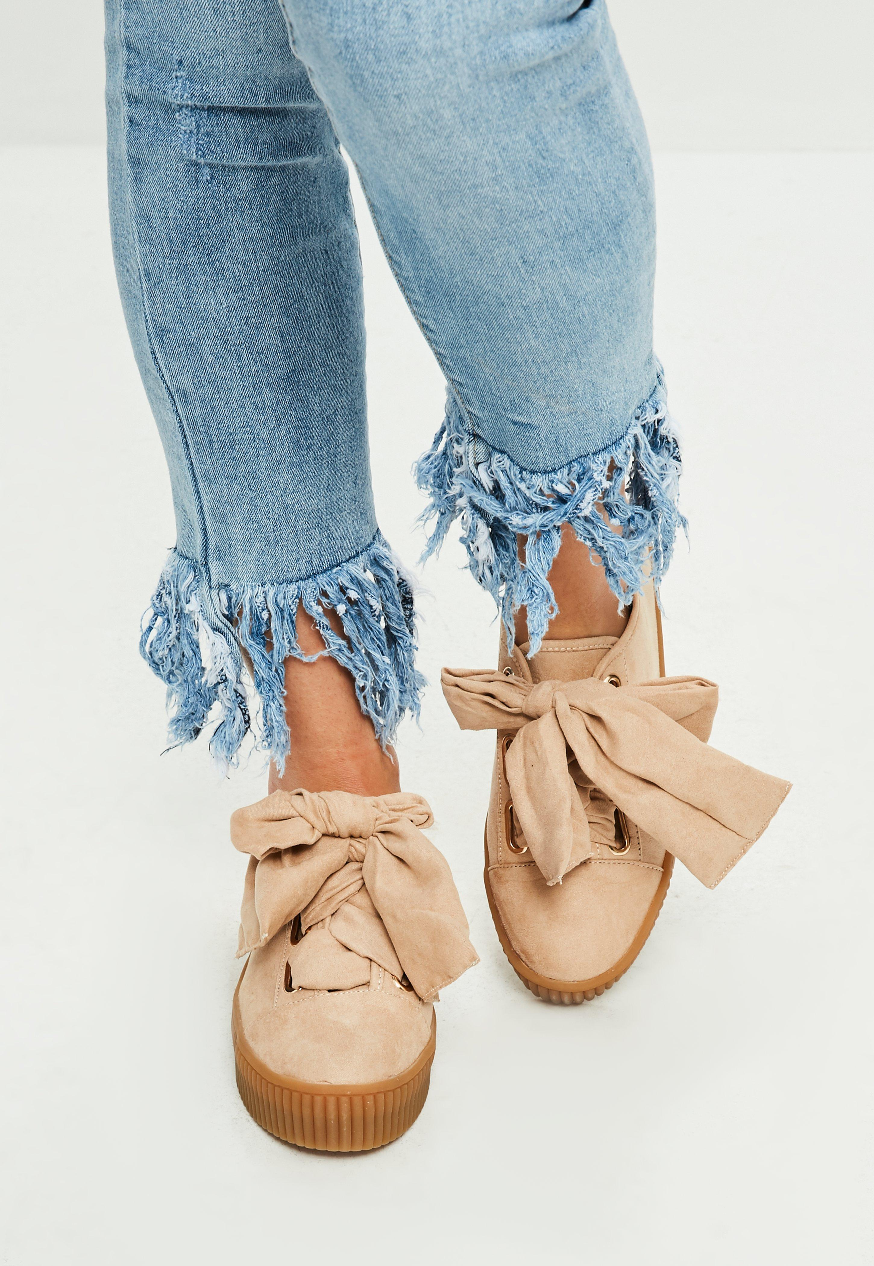 bb9322442 Missguided Nude Faux Suede Platform Sneakers in Blue - Lyst