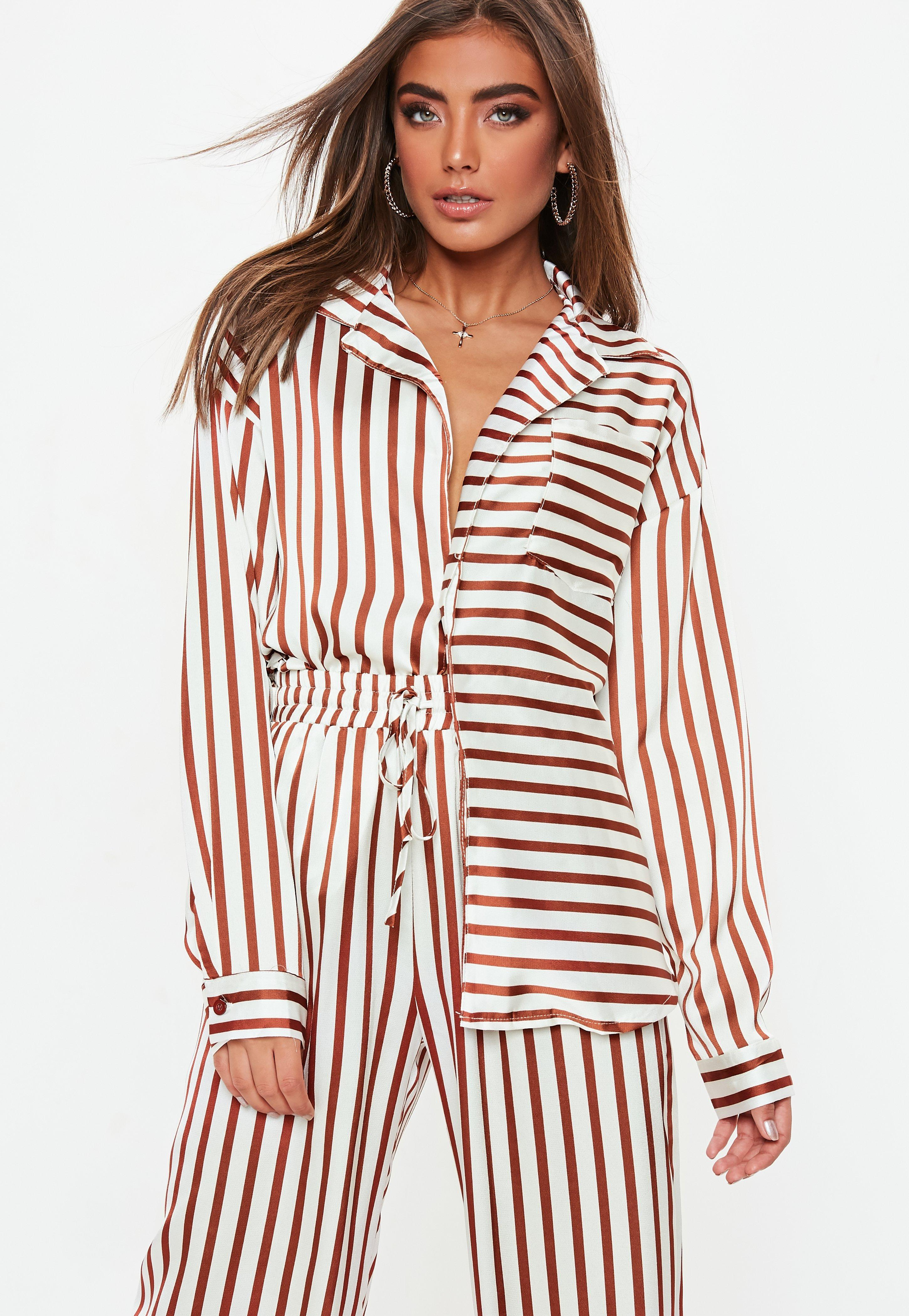 ad09c4b867 Missguided White Striped Oversized Satin Shirt in White - Lyst