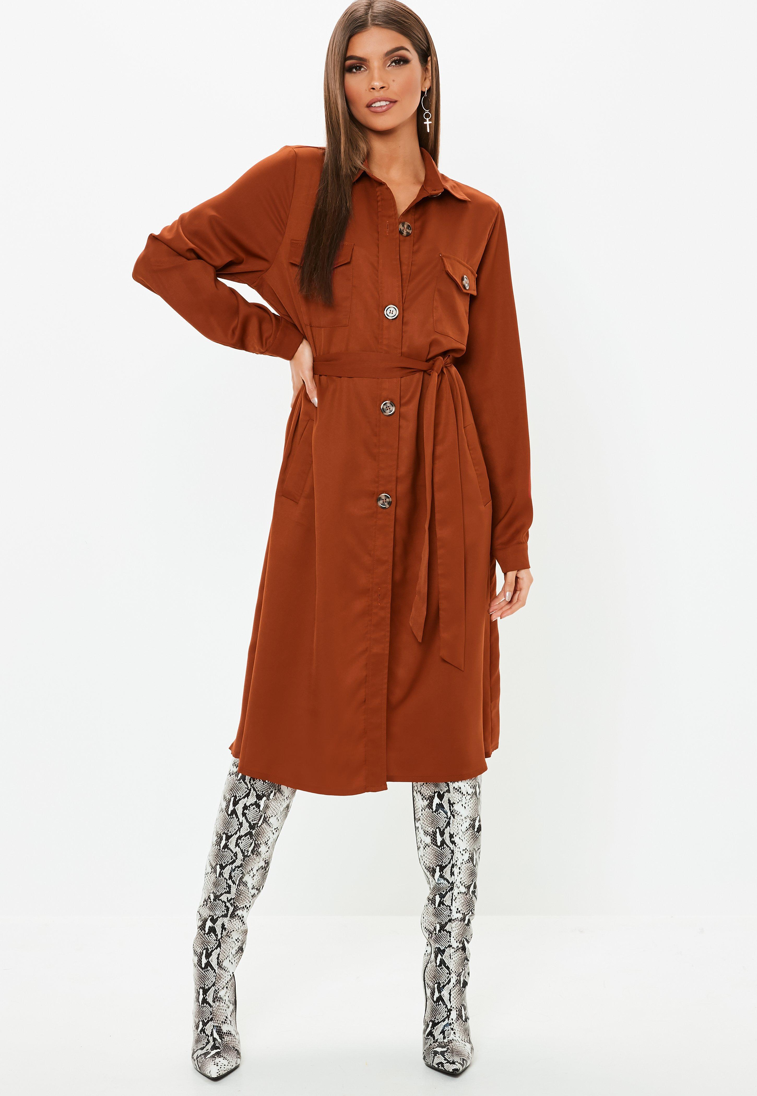 80b722417b885 Lyst - Missguided Rust Tie Waist Utility Shirt Dress in Brown