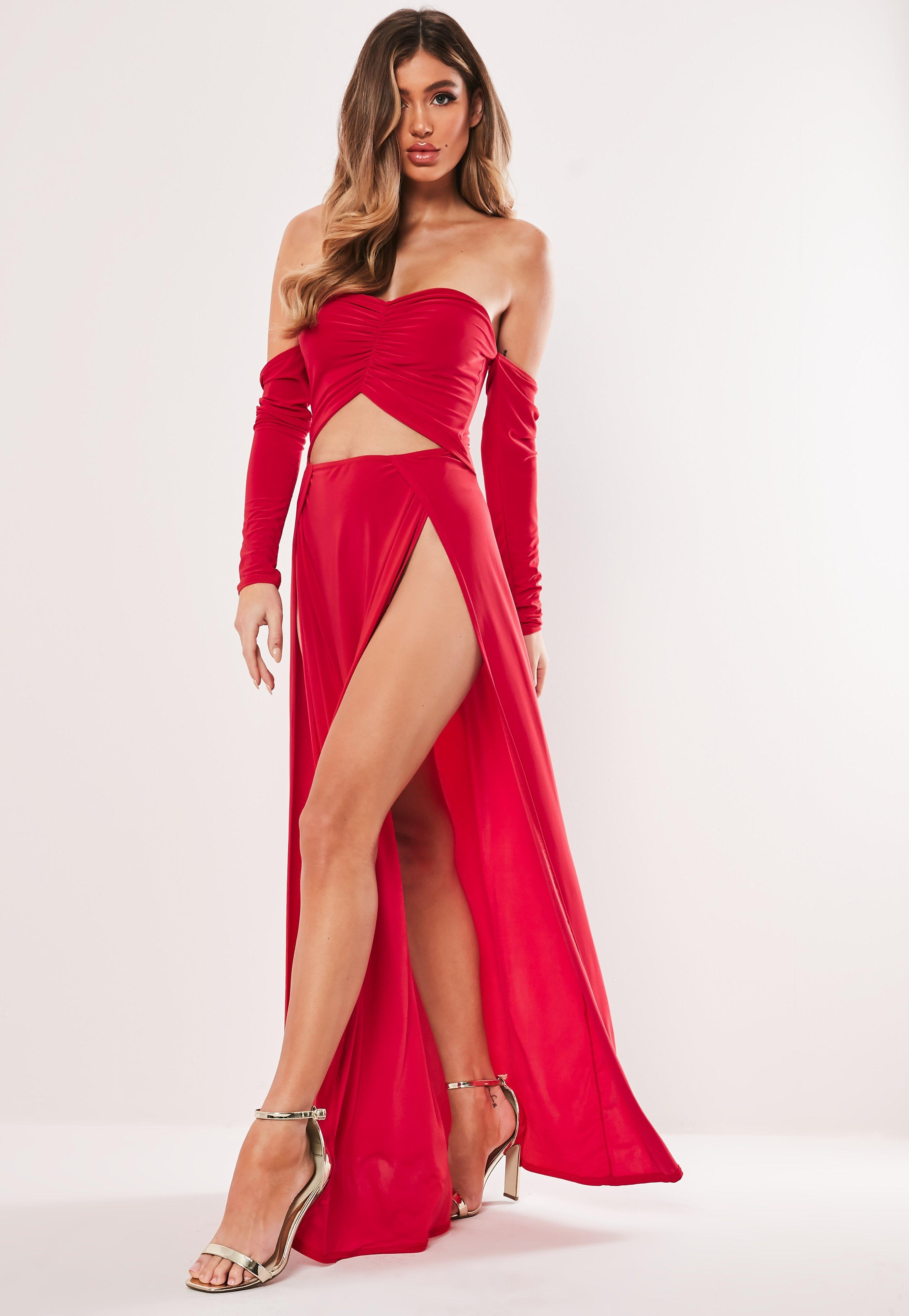 ced46f756a54 Lyst - Missguided Red Slinky Bardot Cut Out Split Maxi Dress in Red