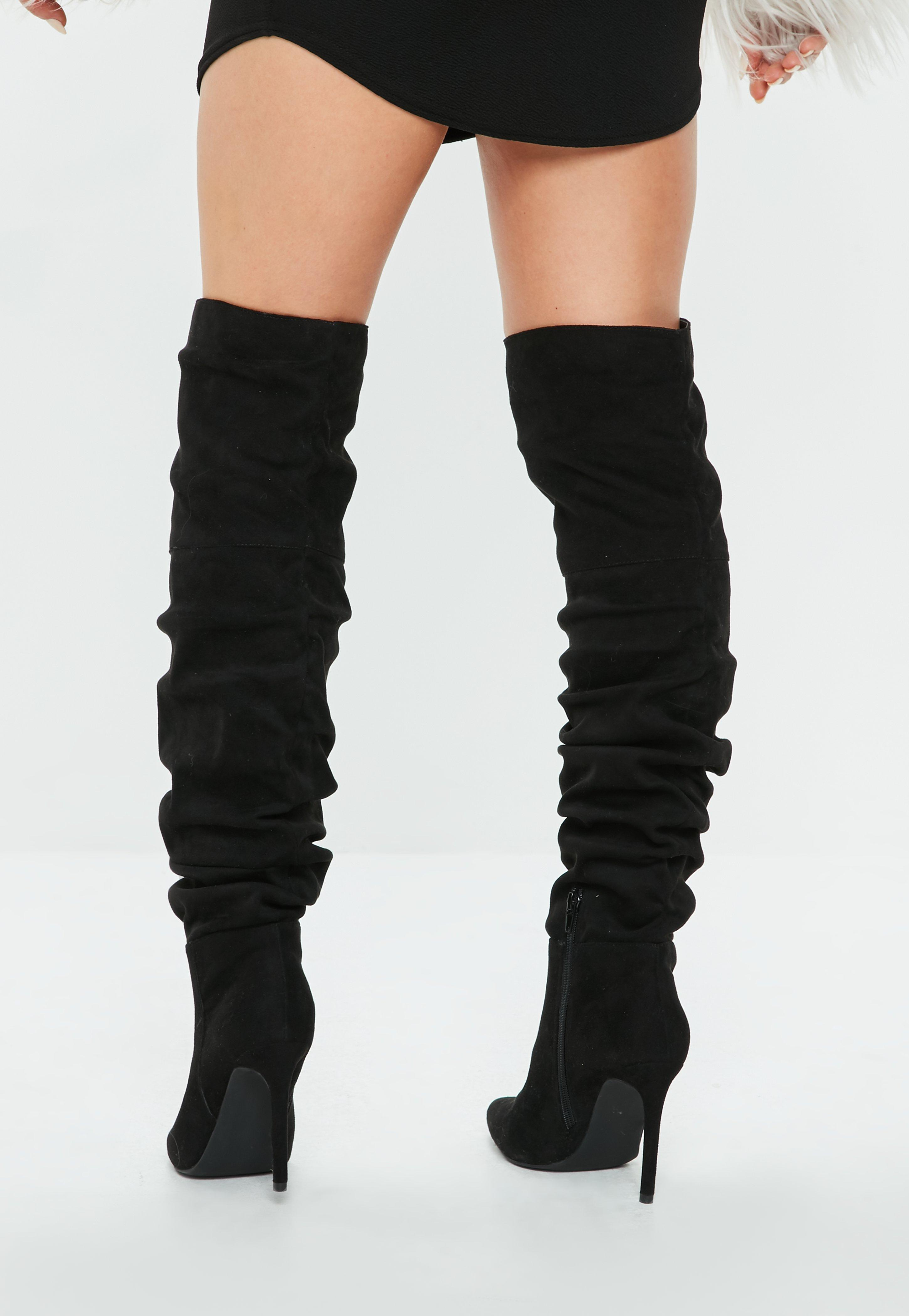 cdf56be570a2 Missguided Black Ruched Over The Knee Pointed Heeled Boots in Black ...