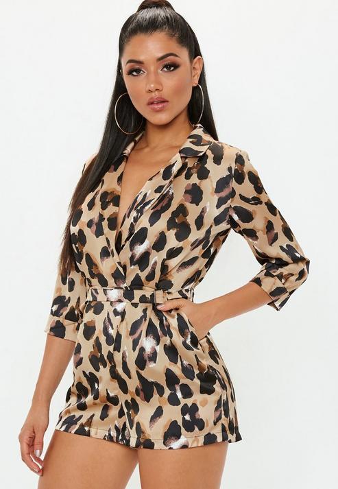 9b0c497d7cb Missguided Brown Leopard Print Wrap Blazer Playsuit in Brown - Lyst