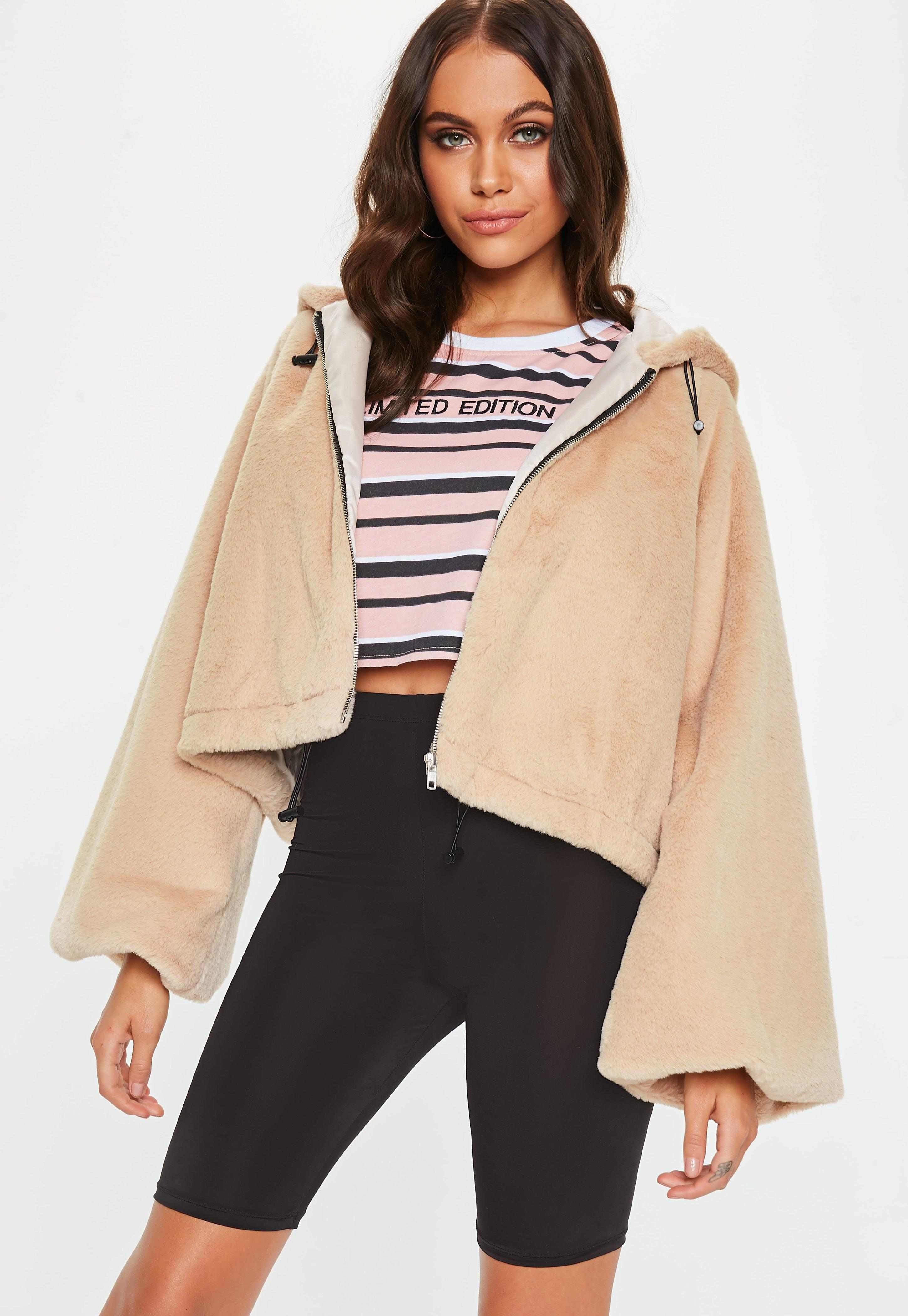 ddddc7fd9a64a Lyst - Missguided Cream Balloon Sleeve Faux Fur Coat in Natural ...