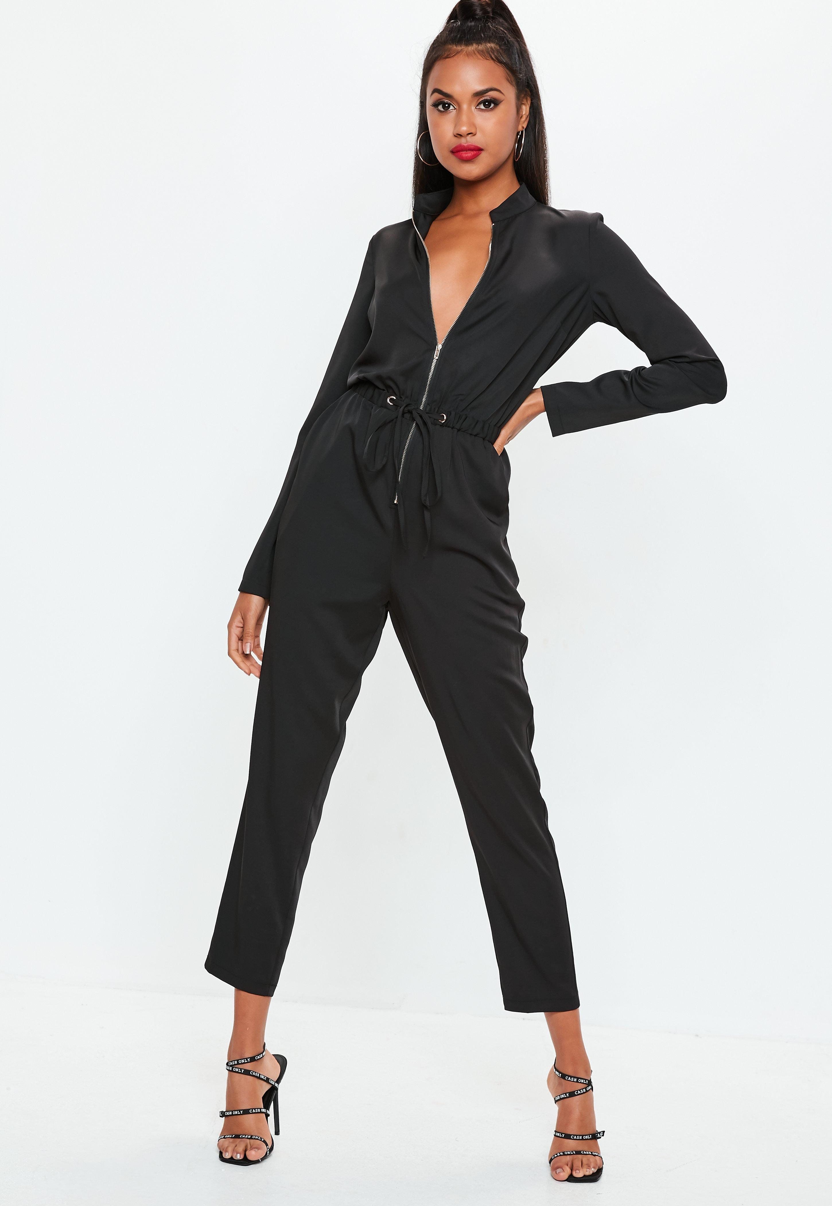 686c1e85e2c Lyst - Missguided Utility Zip Front Jumpsuit In Black in Black