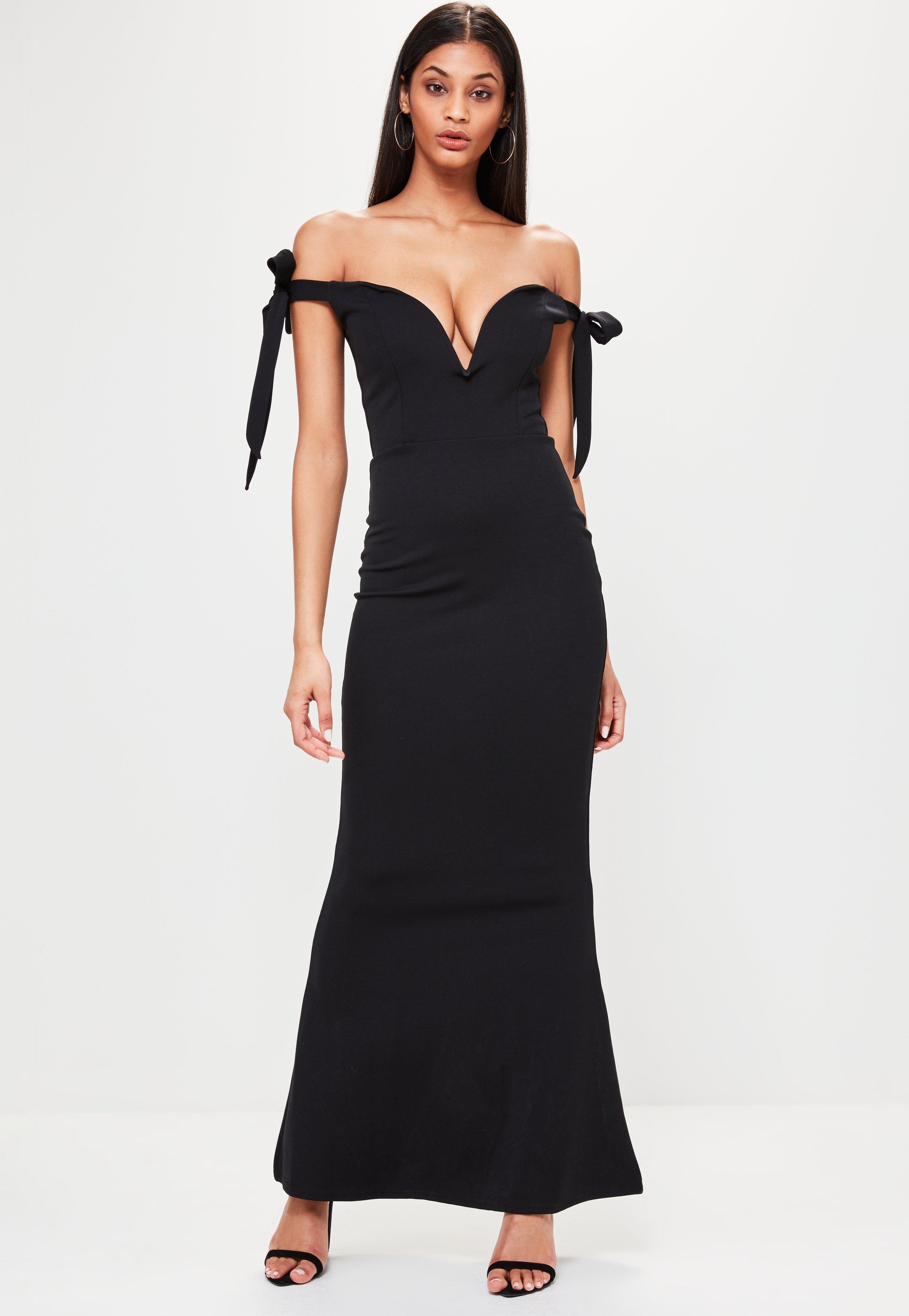 Missguided Black Sweetheart Neck Bardot Tie Maxi Dress in Black - Lyst