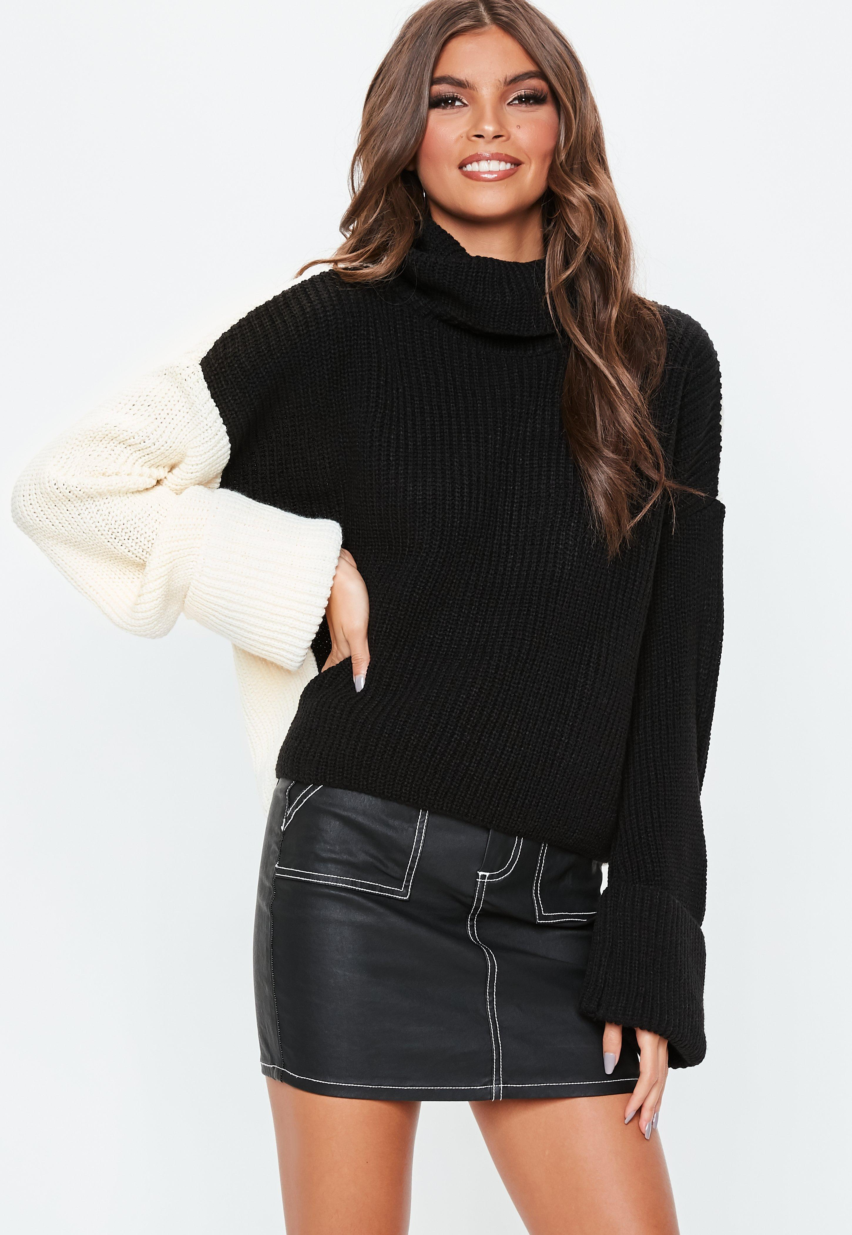 Lyst - Missguided Tall Black Colour Block Roll Neck Jumper in Black 09e574a36
