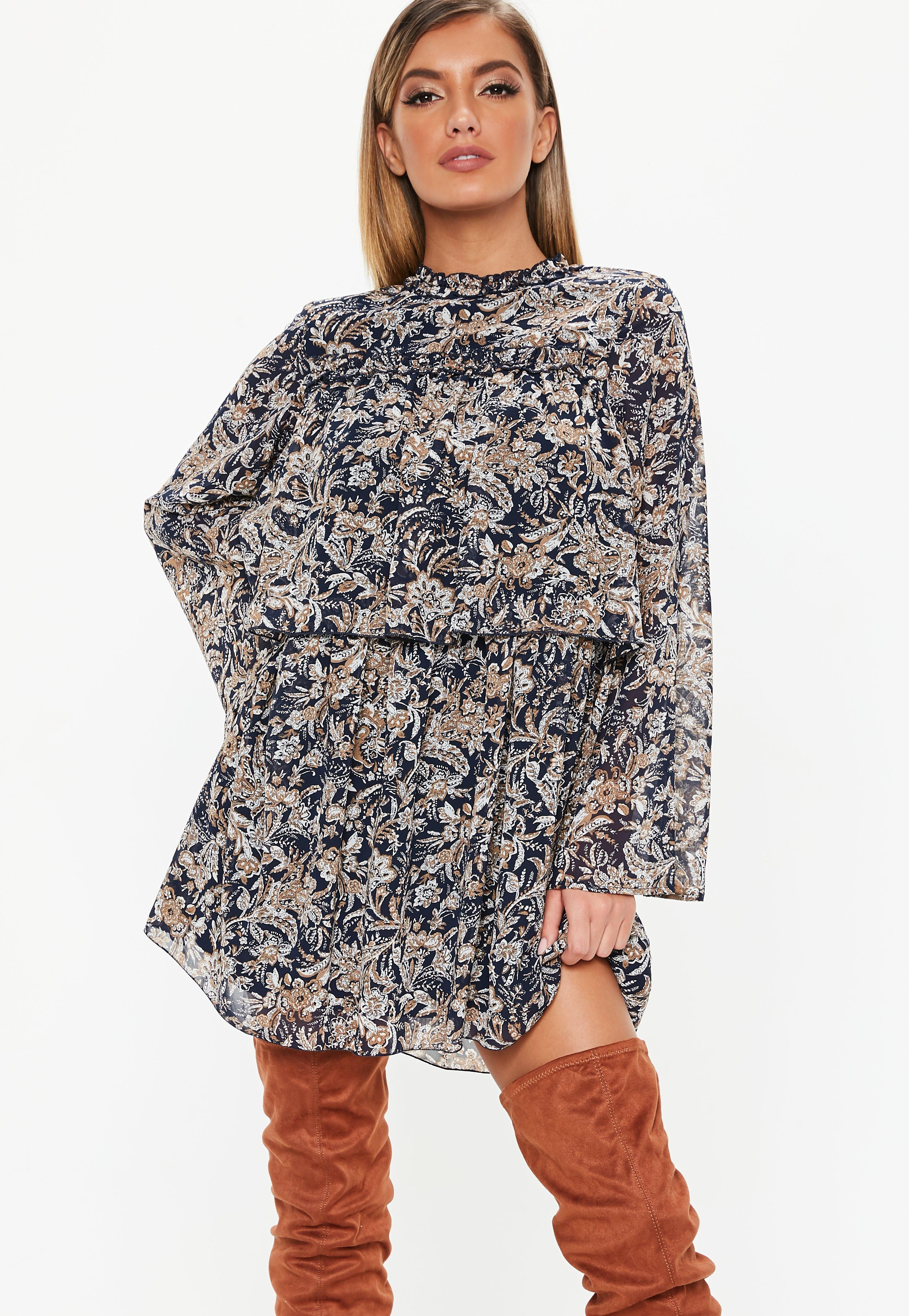 8a60aa72a5 Lyst - Missguided Navy High Neck Paisley Frill Smock Dress in Blue