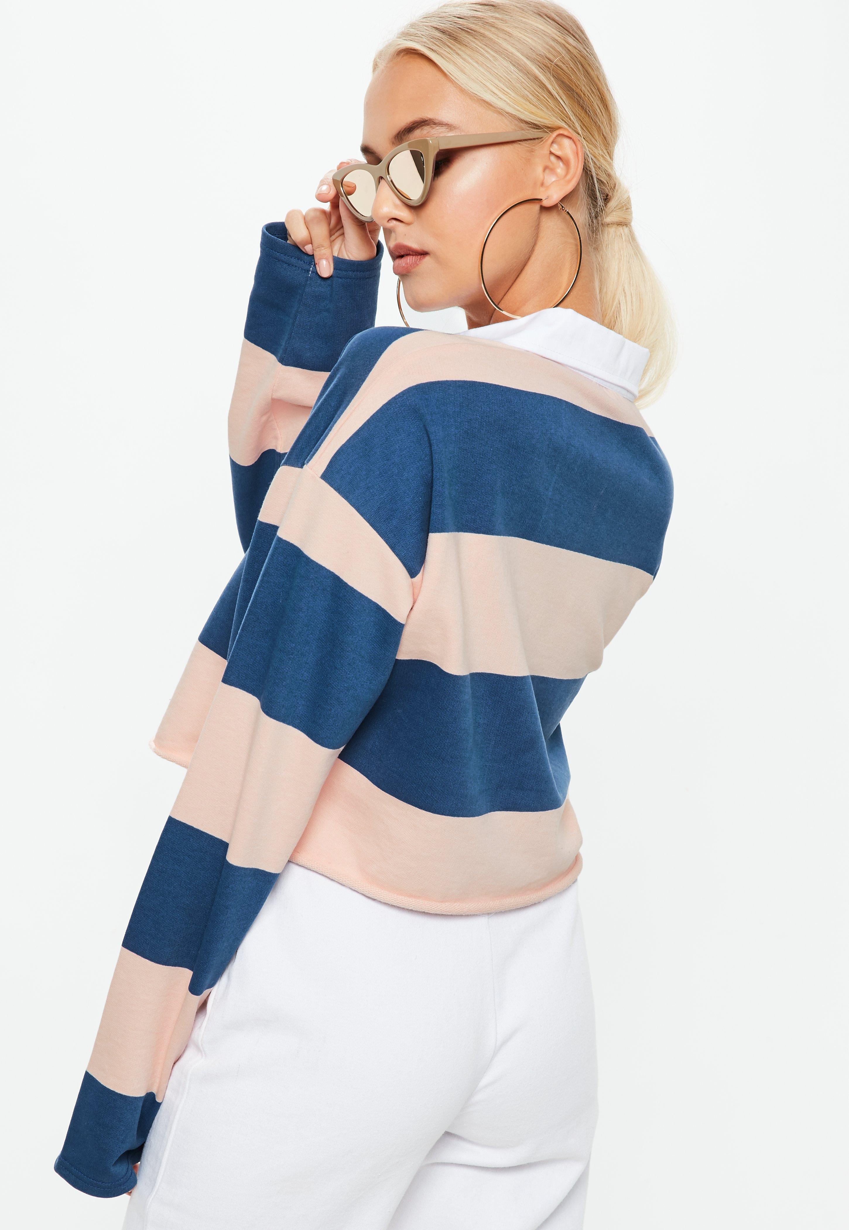 a09be17adbf5 Missguided Cropped Rugby Top In Multi Stripe in Blue - Lyst