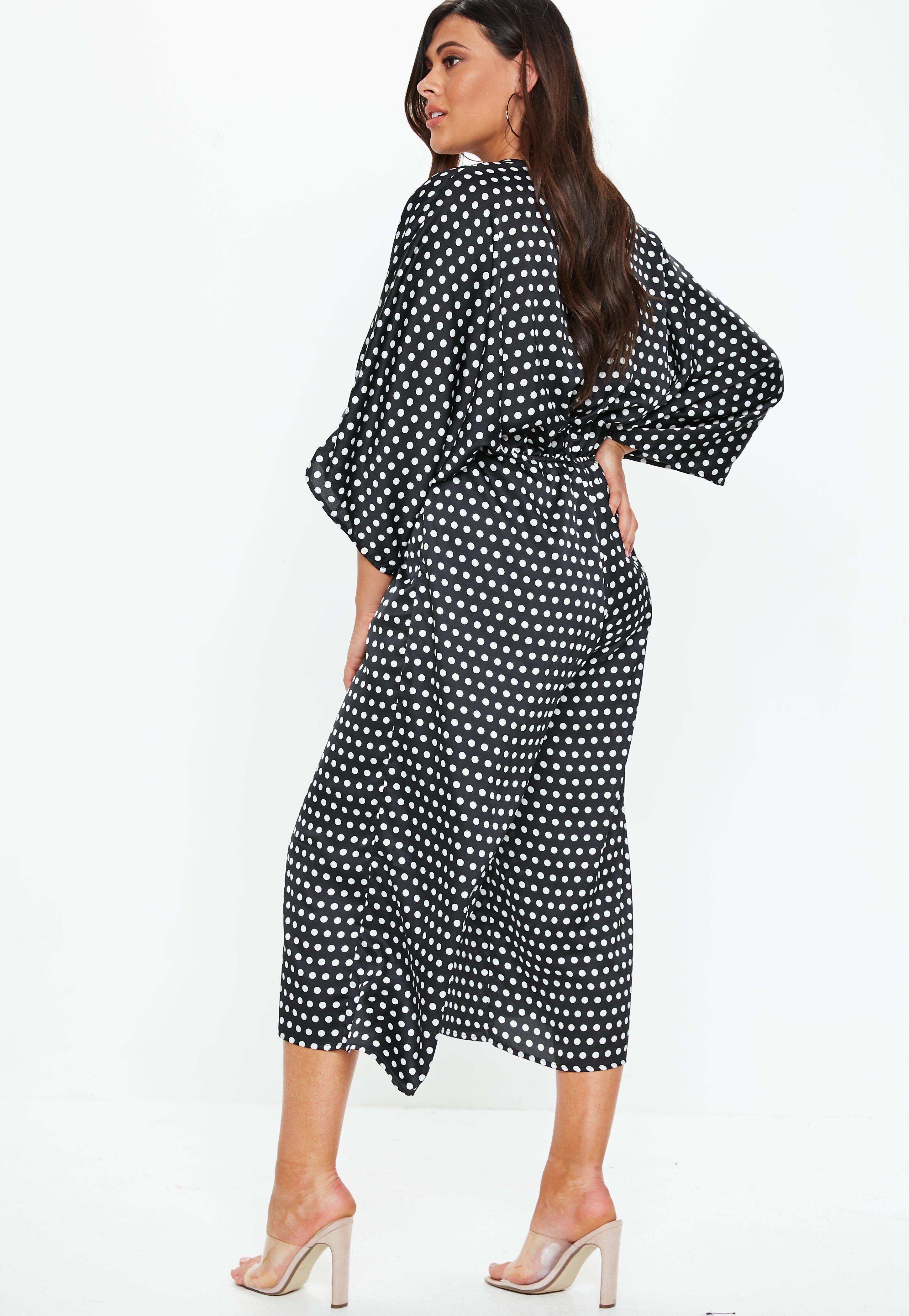 18db5bde9bb Missguided - Plus Size Black Kimono Sleeve Polka Dot Jumpsuit - Lyst. View  fullscreen