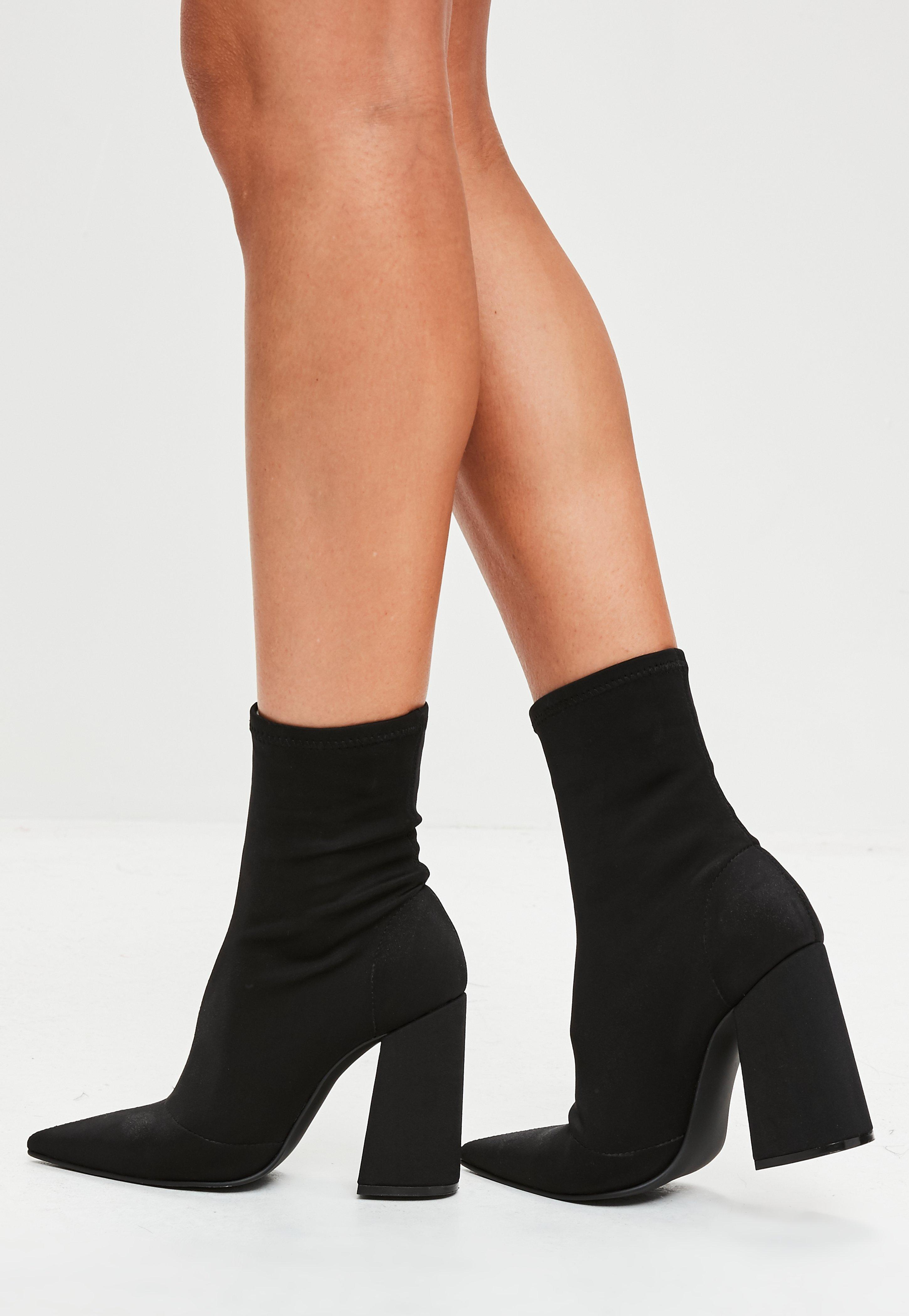 abe4bfb13f7d Libby Flared Heel Sock Fit Ankle Boots In Black Stretch - Image Of ...