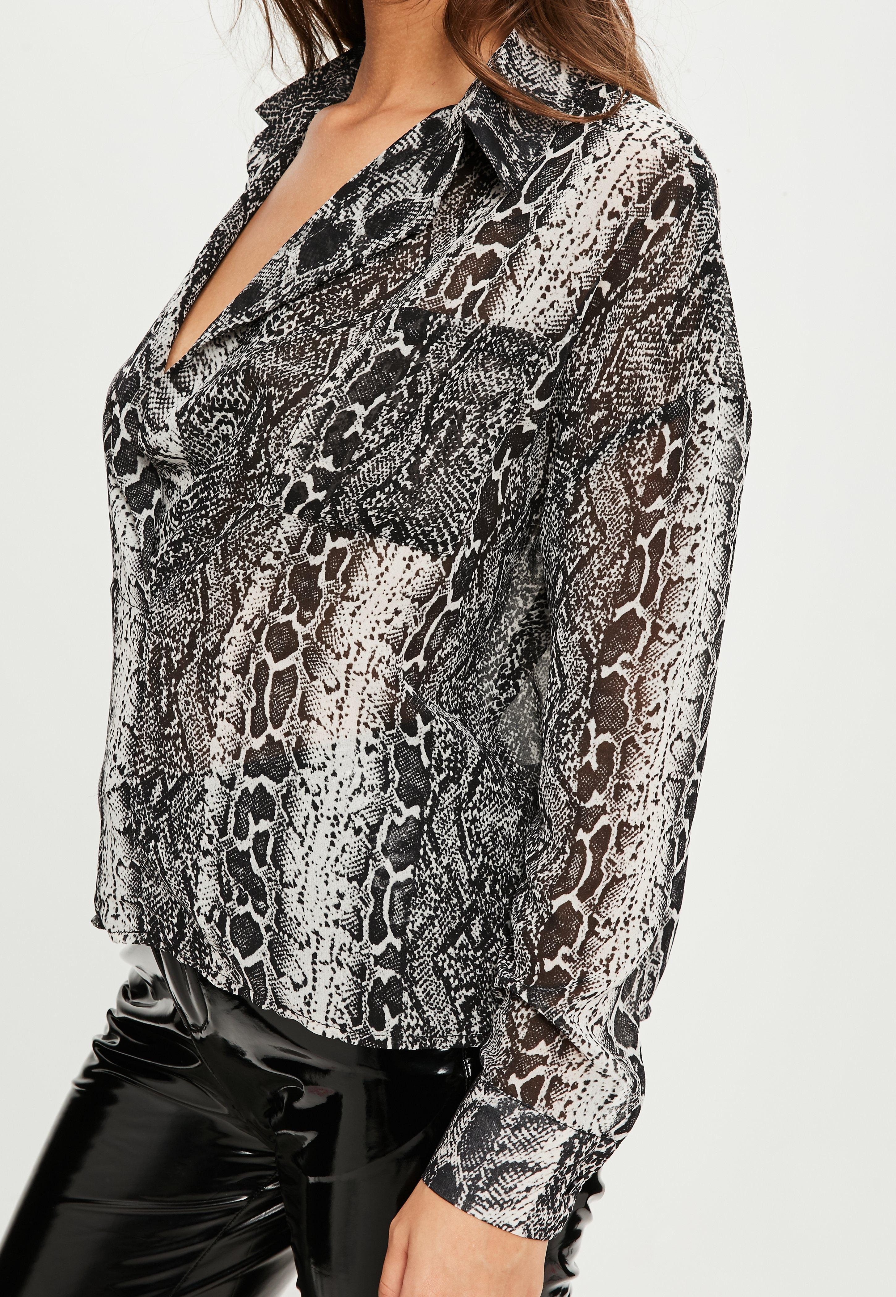 05efc2201ea Lyst - Missguided Grey Snake Print Oversized Plunge Shirt in Gray