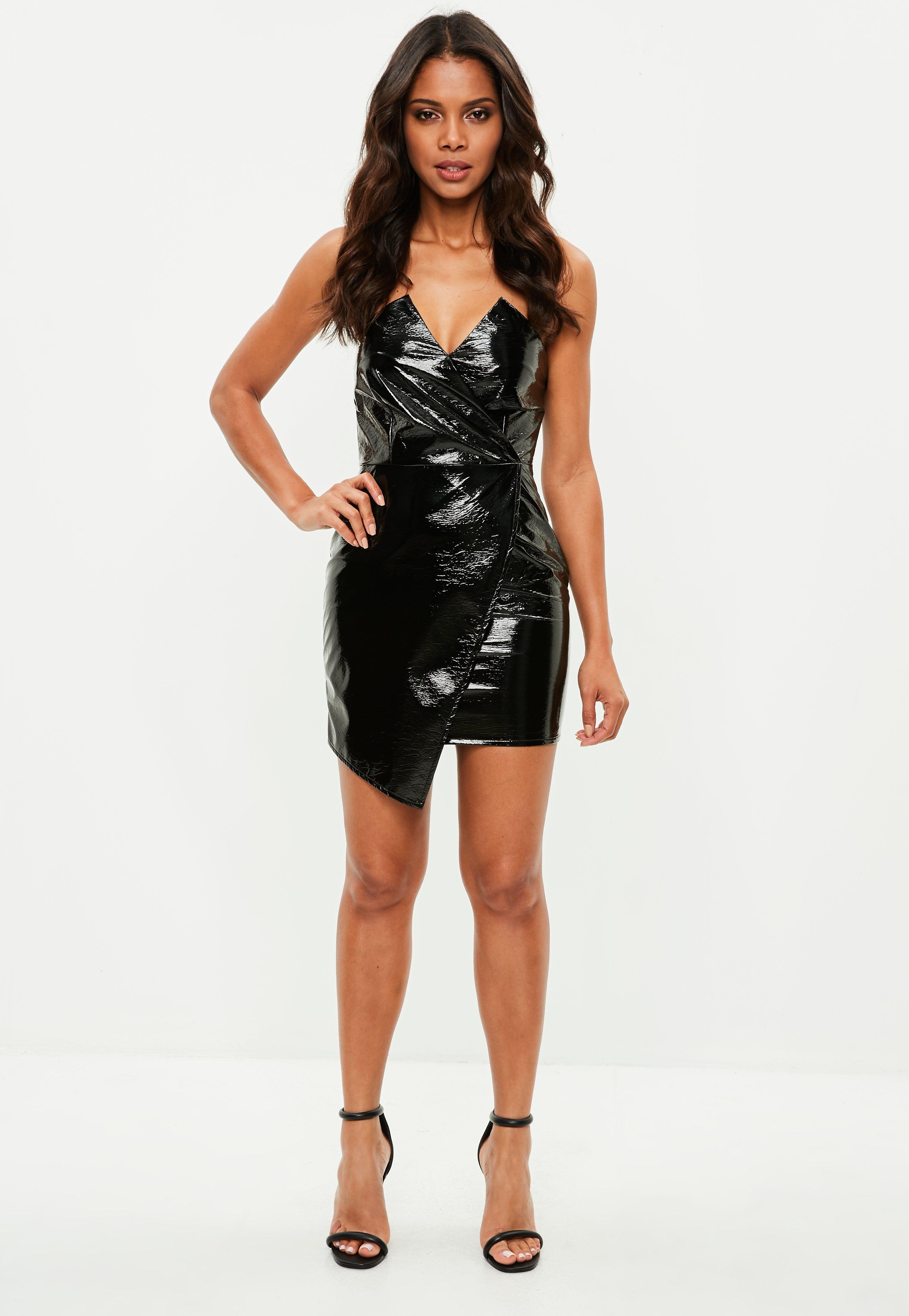 adc4ae4a909 Missguided Petite Black Vinyl Bandeau Mini Dress - Unidays in Black ...