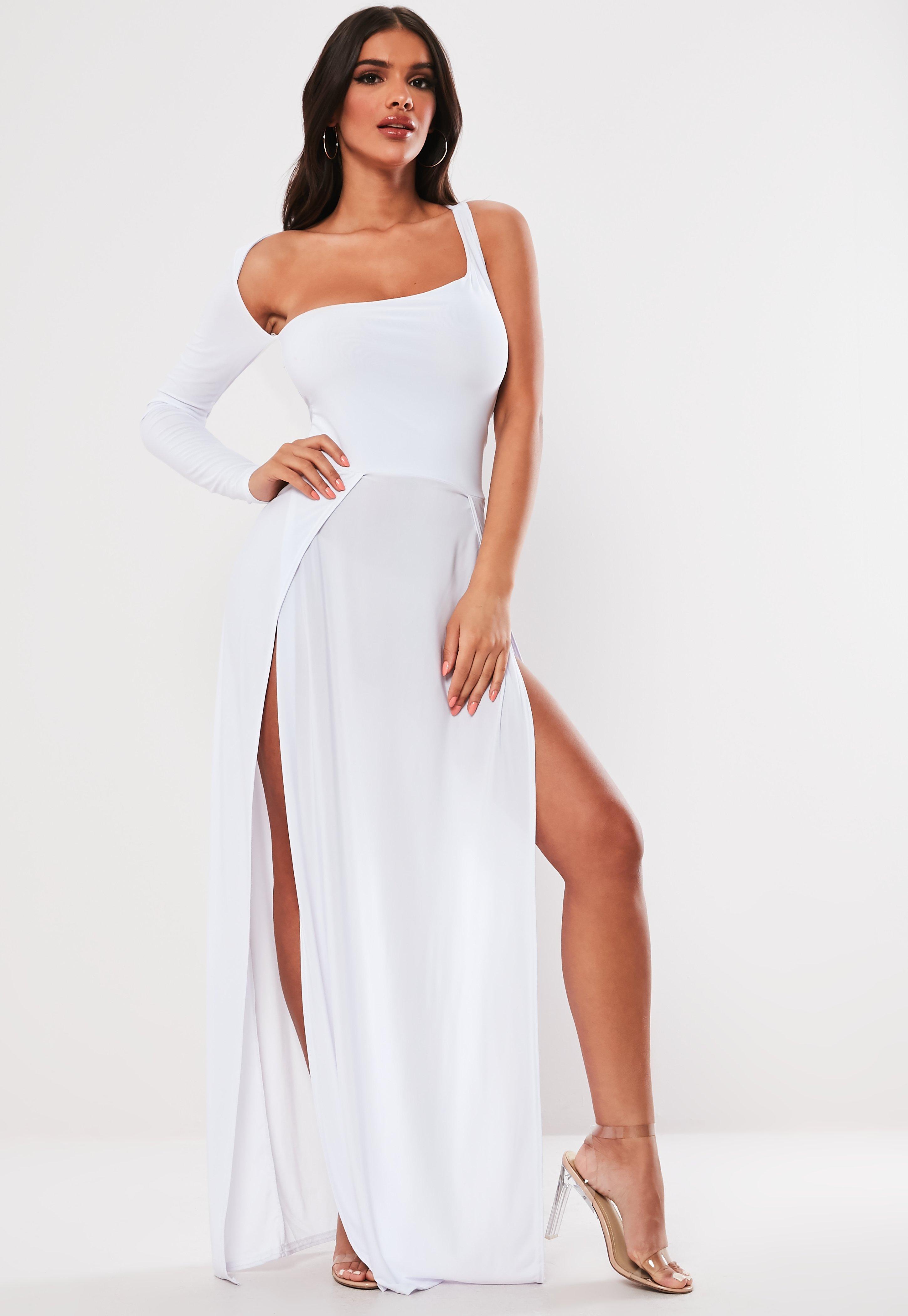 c595011429 Missguided White Slinky One Shoulder Split Maxi Dress in White - Lyst