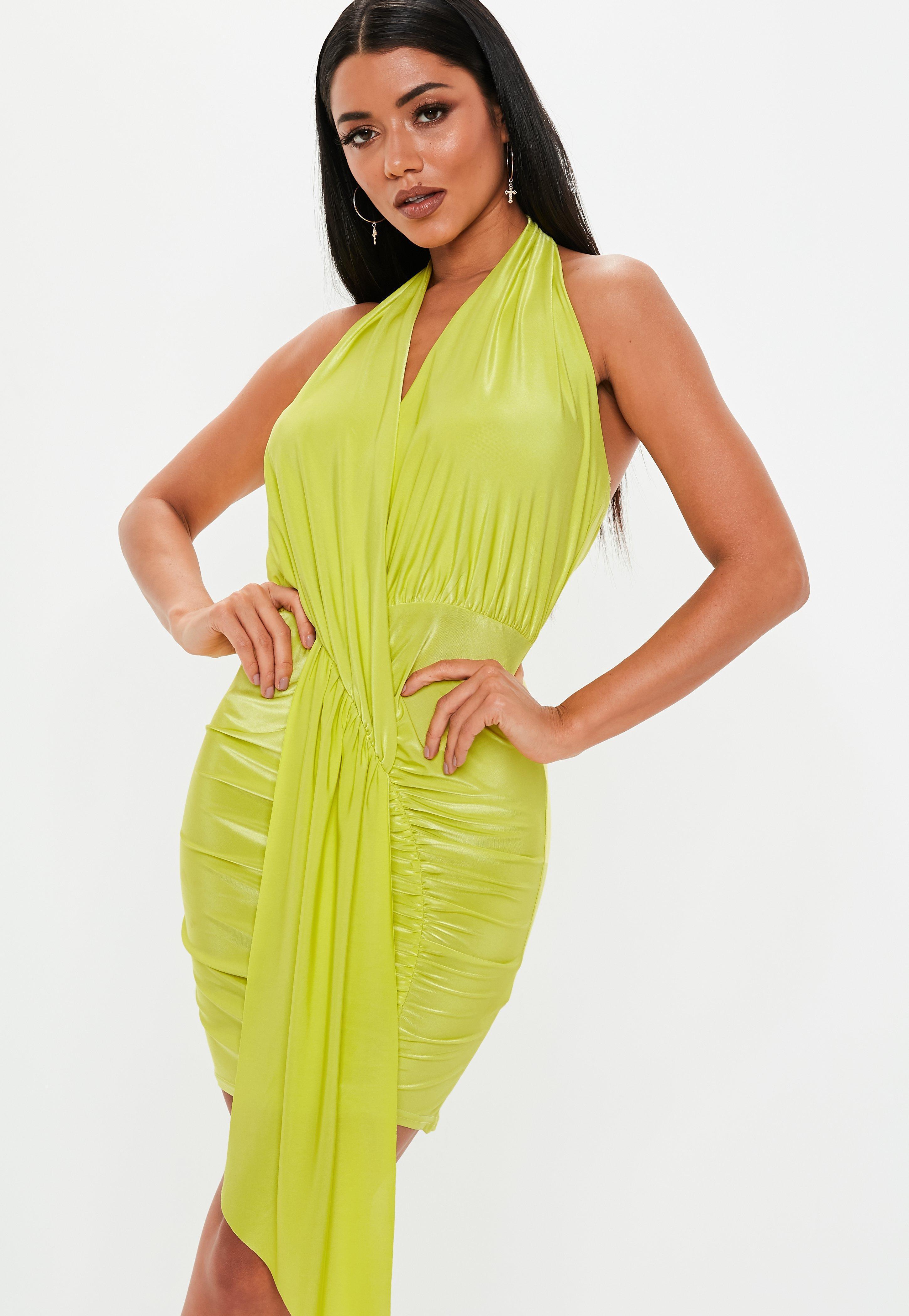 Lyst - Missguided Lime Green Slinky Cowl Drape Mini Dress in Green 4b6620f3c