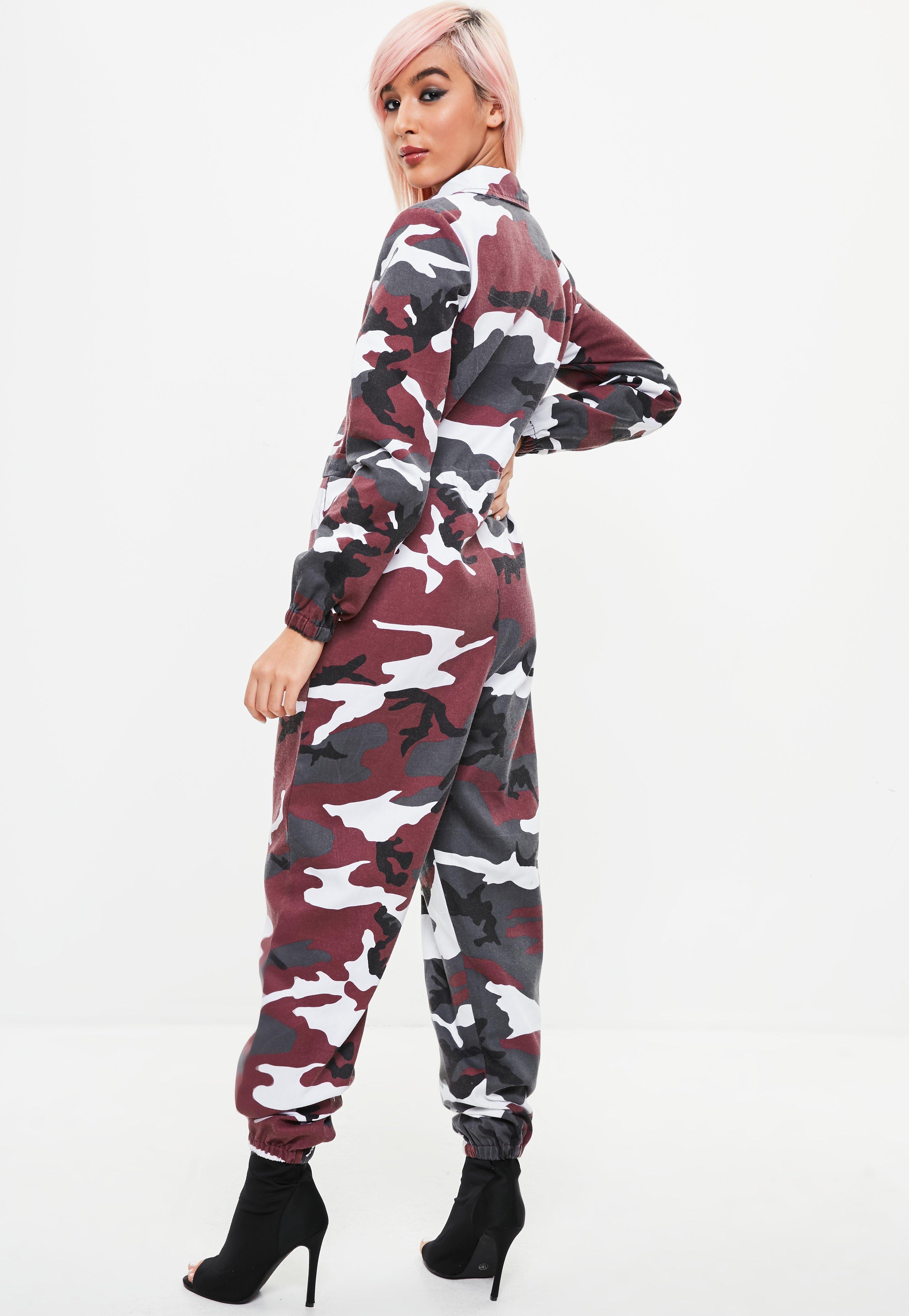 4f9ee94d8d1 Lyst - Missguided Petite Red Camo Boiler Jumpsuit in Red