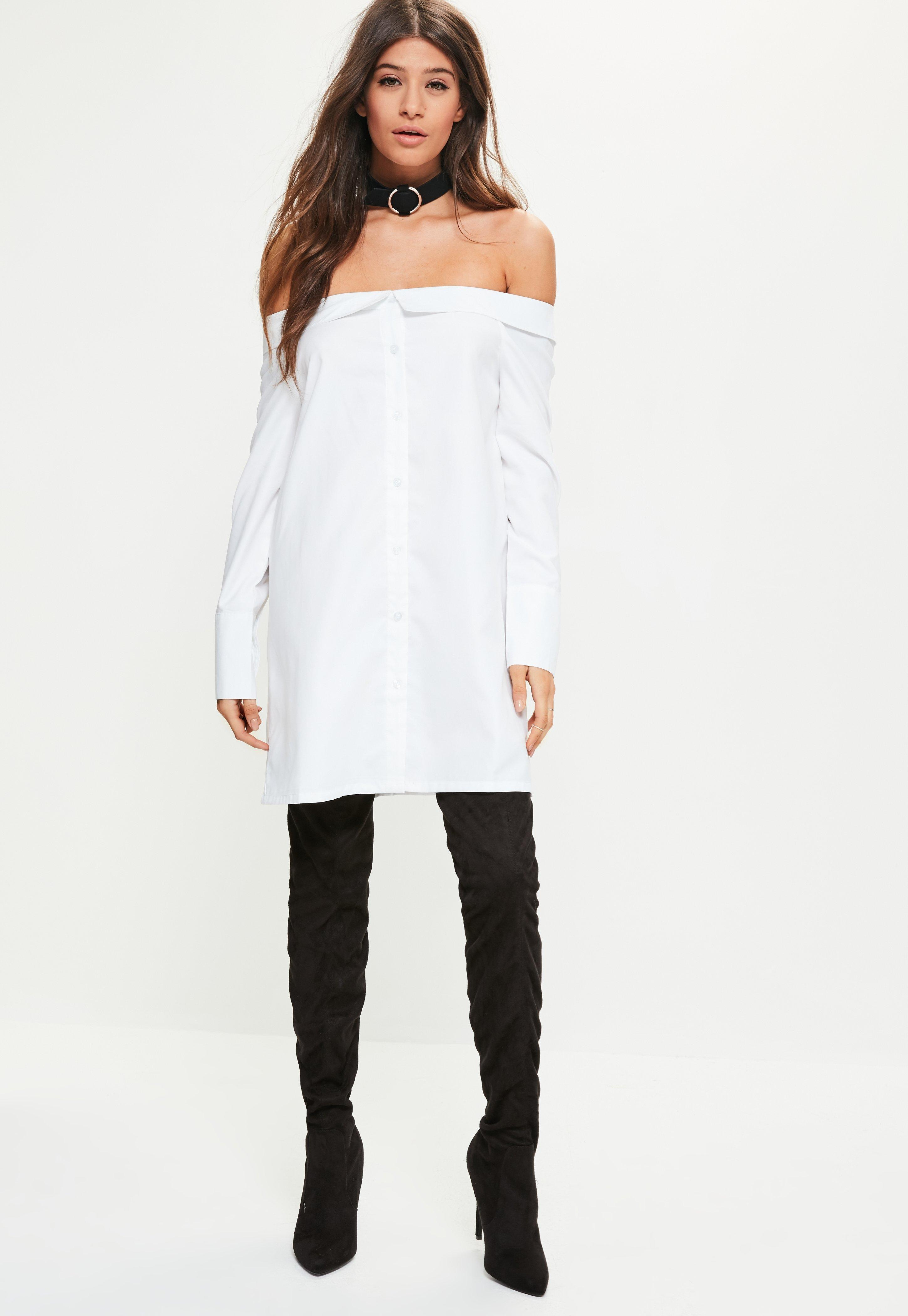 c914dd43294c72 Lyst - Missguided White Bardot Soft Touch Shirt Dress in White