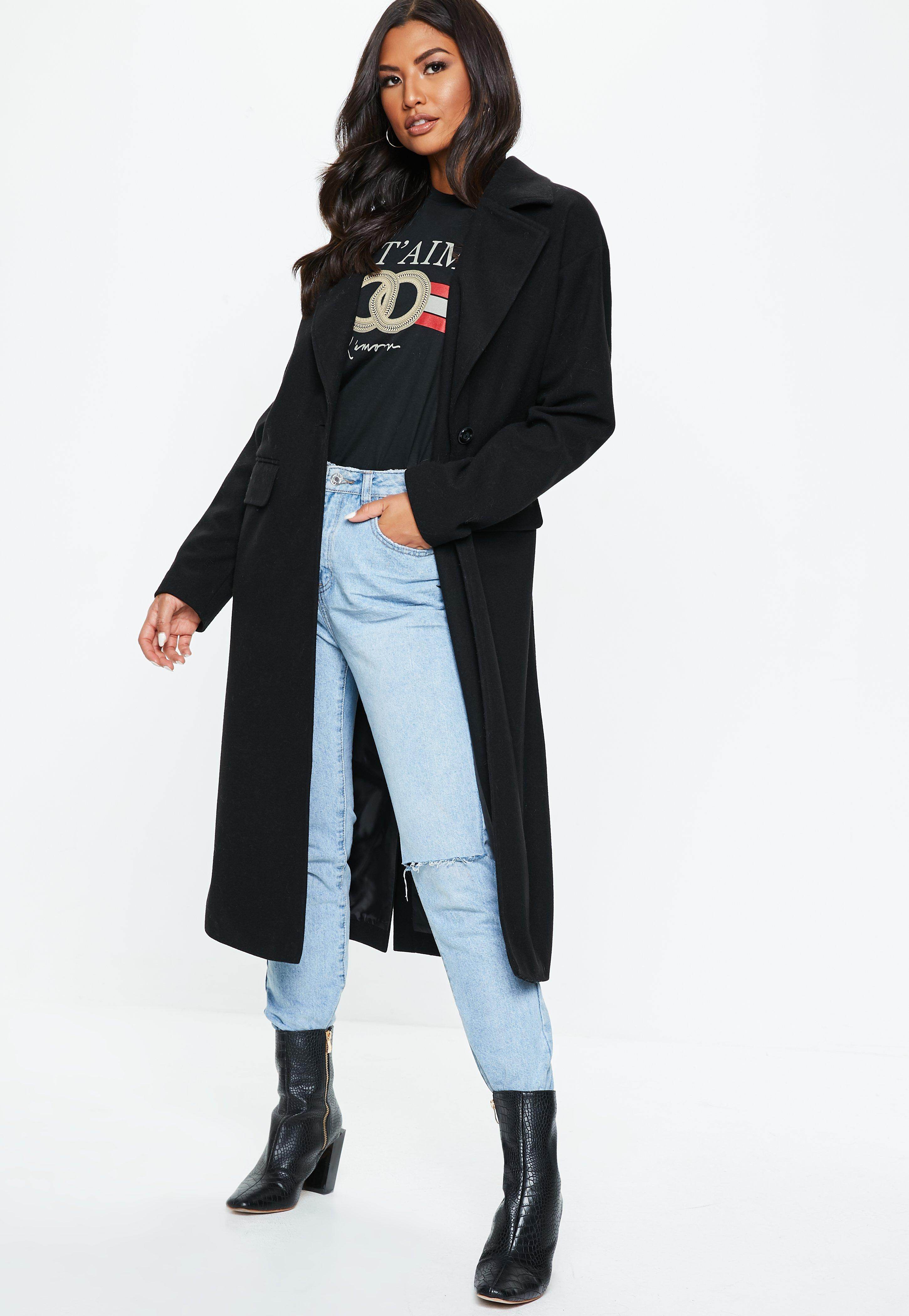 a4e84dadf59a Lyst - Missguided Black Long Length Faux Wool Coat in Black