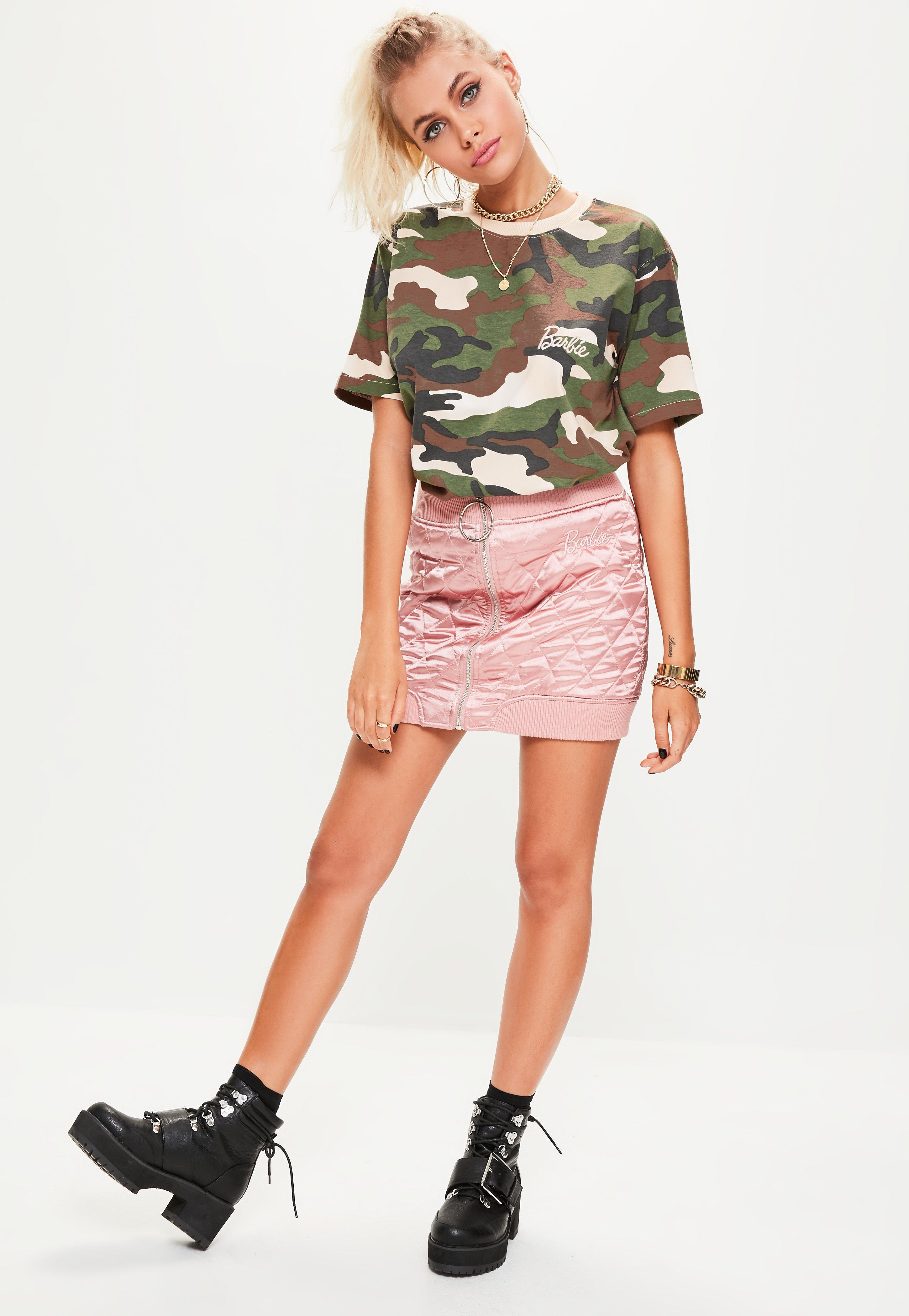 bbef6468d9f50 Missguided Barbie X Green Short Sleeve Camo Printed T-shirt in Green ...