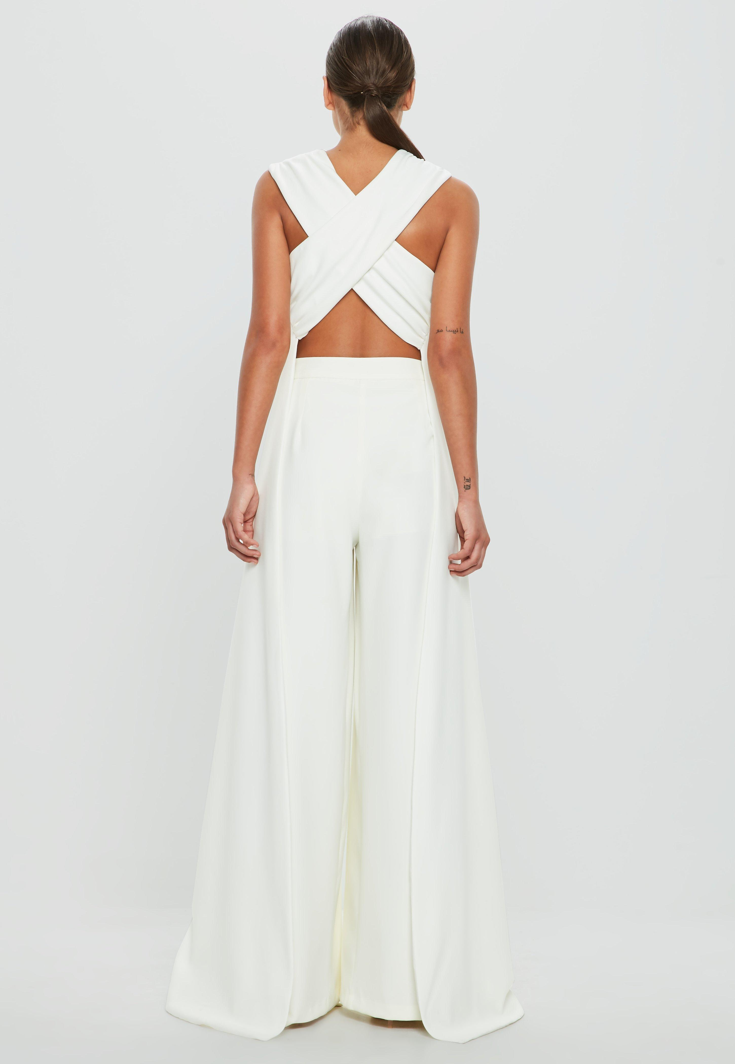 ee1e3ee3ac05 Lyst - Missguided Peace + Love White Cross Over Drape Side Top in White